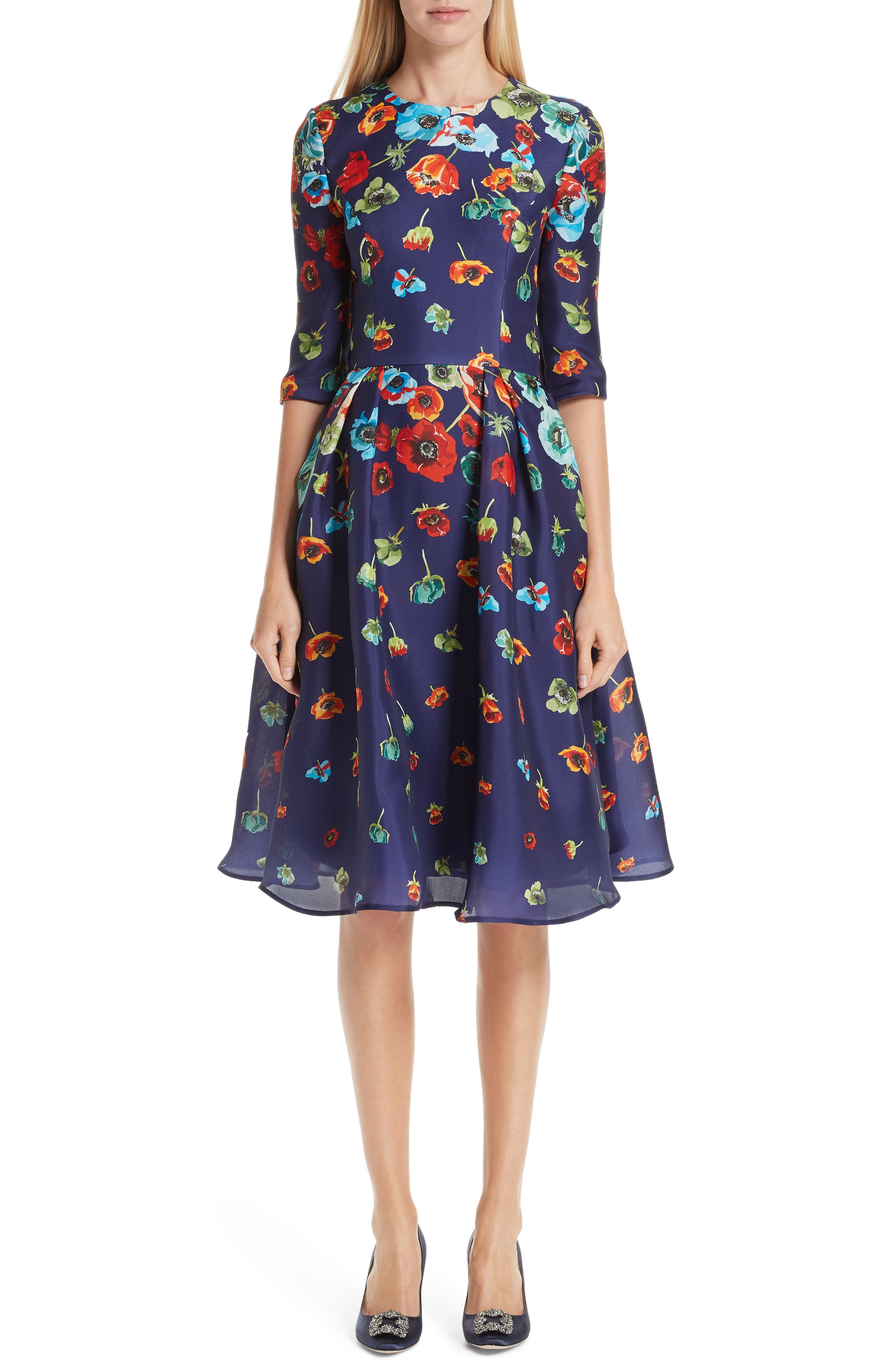 Carolina Herrera Floral Silk Cocktail Dress, Blue