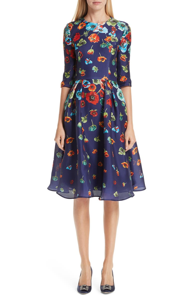 Carolina Herrera FLORAL SILK COCKTAIL DRESS