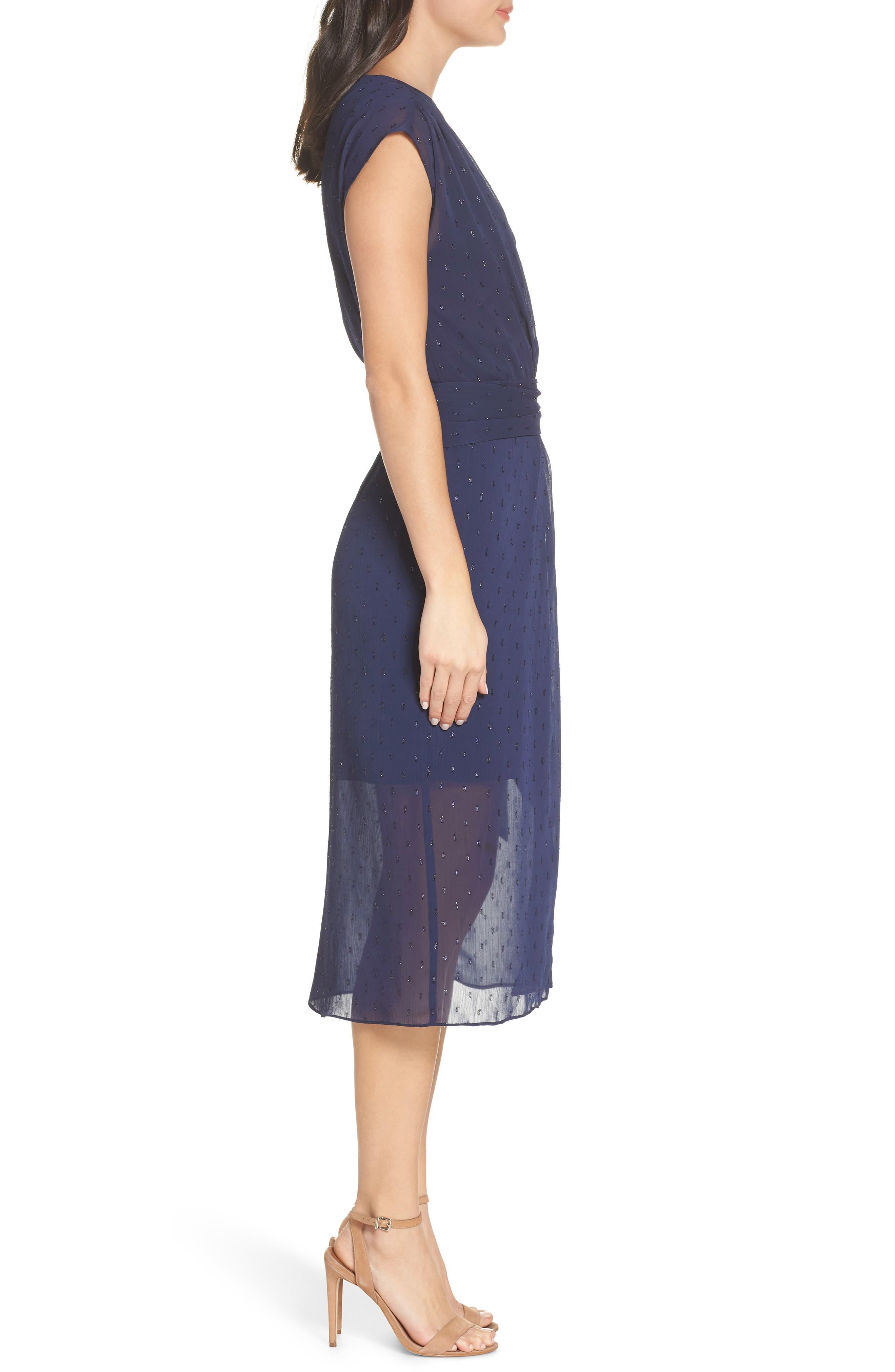 CHELSEA28,                             Fil Coupé Wrap Dress,                             Alternate thumbnail 3, color,                             NAVY SAPPHIRE CLIPDOT