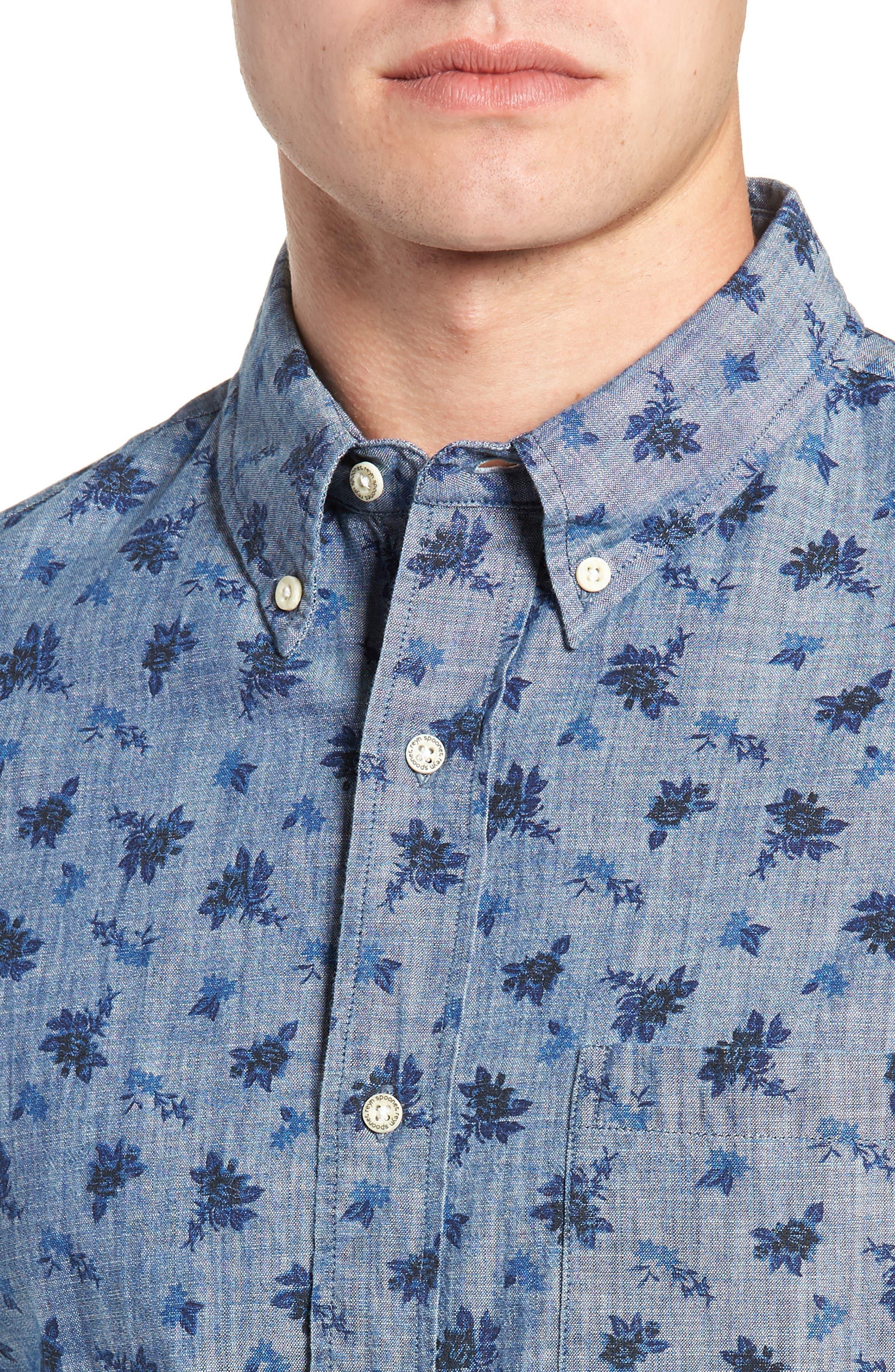 Floral Chambray Regular Fit Sport Shirt,                             Alternate thumbnail 2, color,                             BLUE