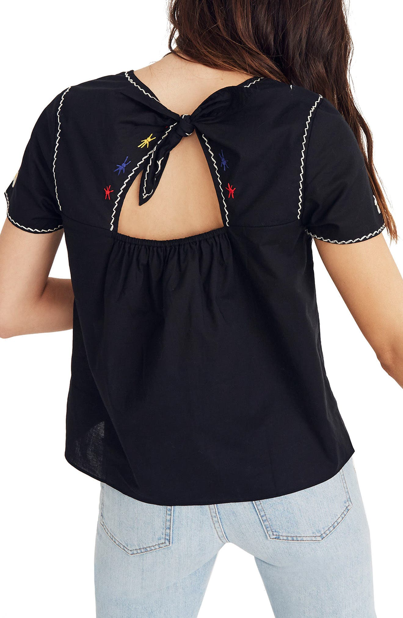 Embroidered Tie Back Cutout Top,                             Alternate thumbnail 2, color,