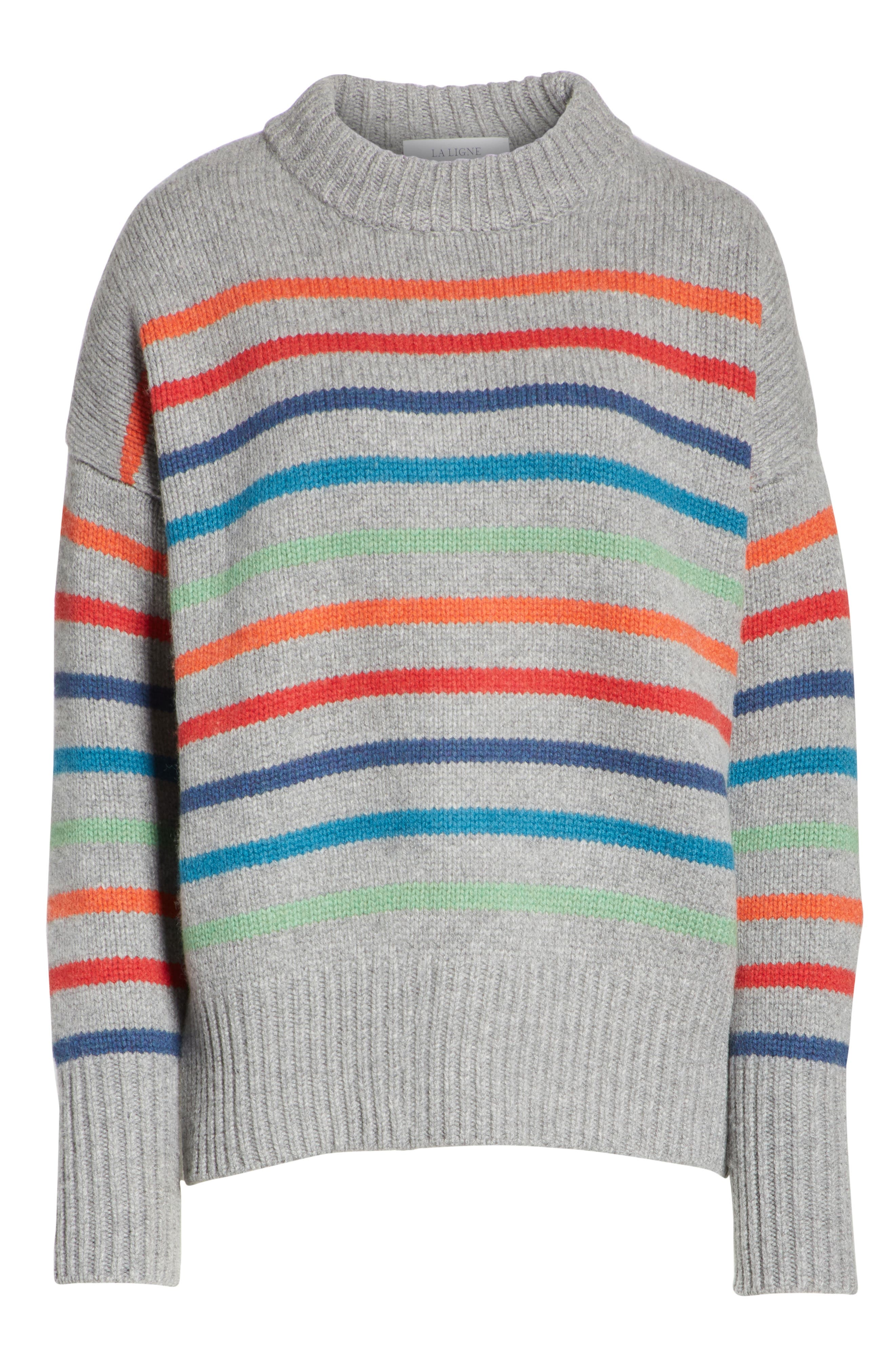 Marin Wool & Cashmere Sweater,                             Alternate thumbnail 6, color,                             RAINBOW STRIPE