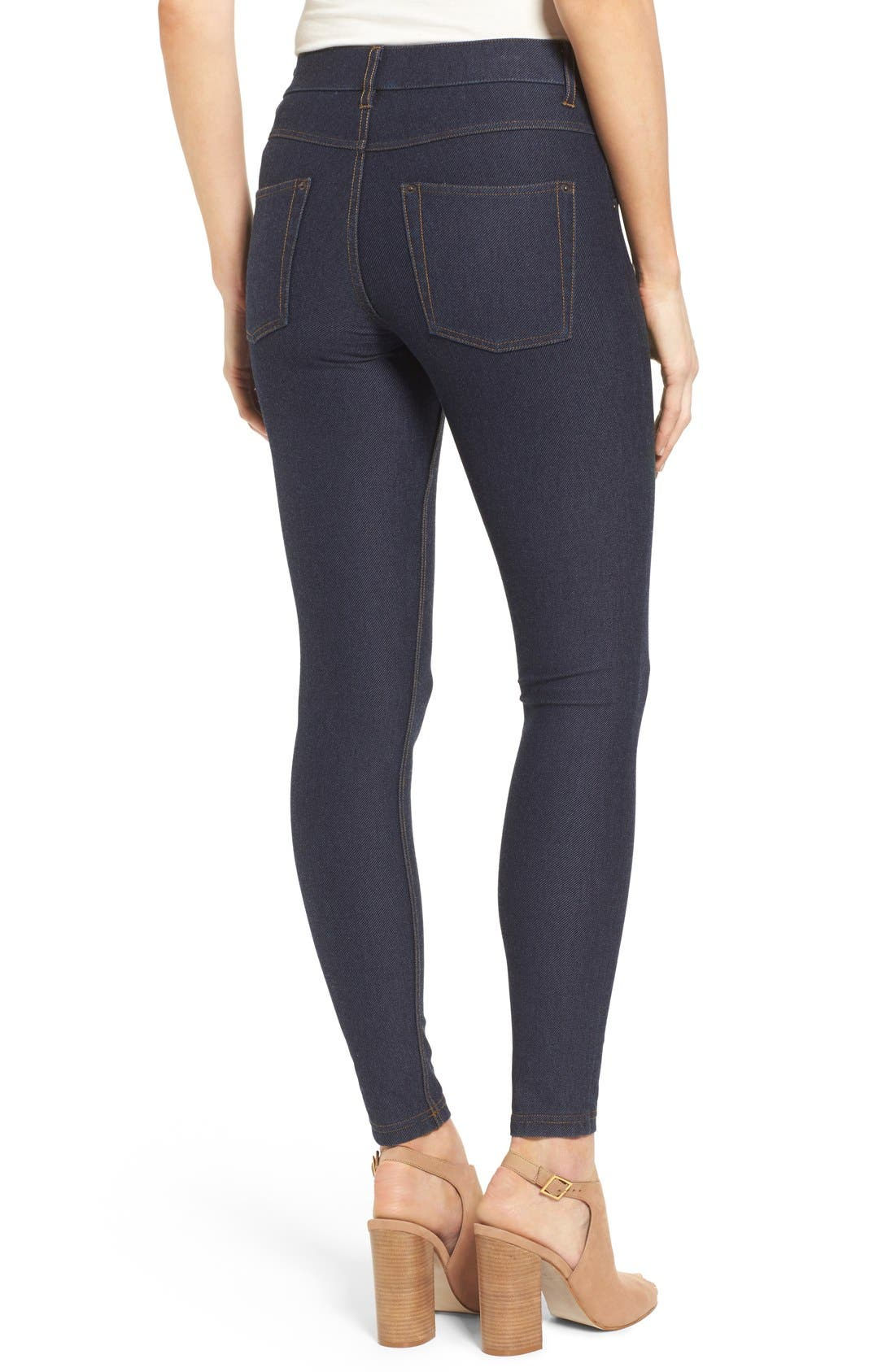 Denim Leggings,                             Alternate thumbnail 2, color,                             DEEP INDIGO