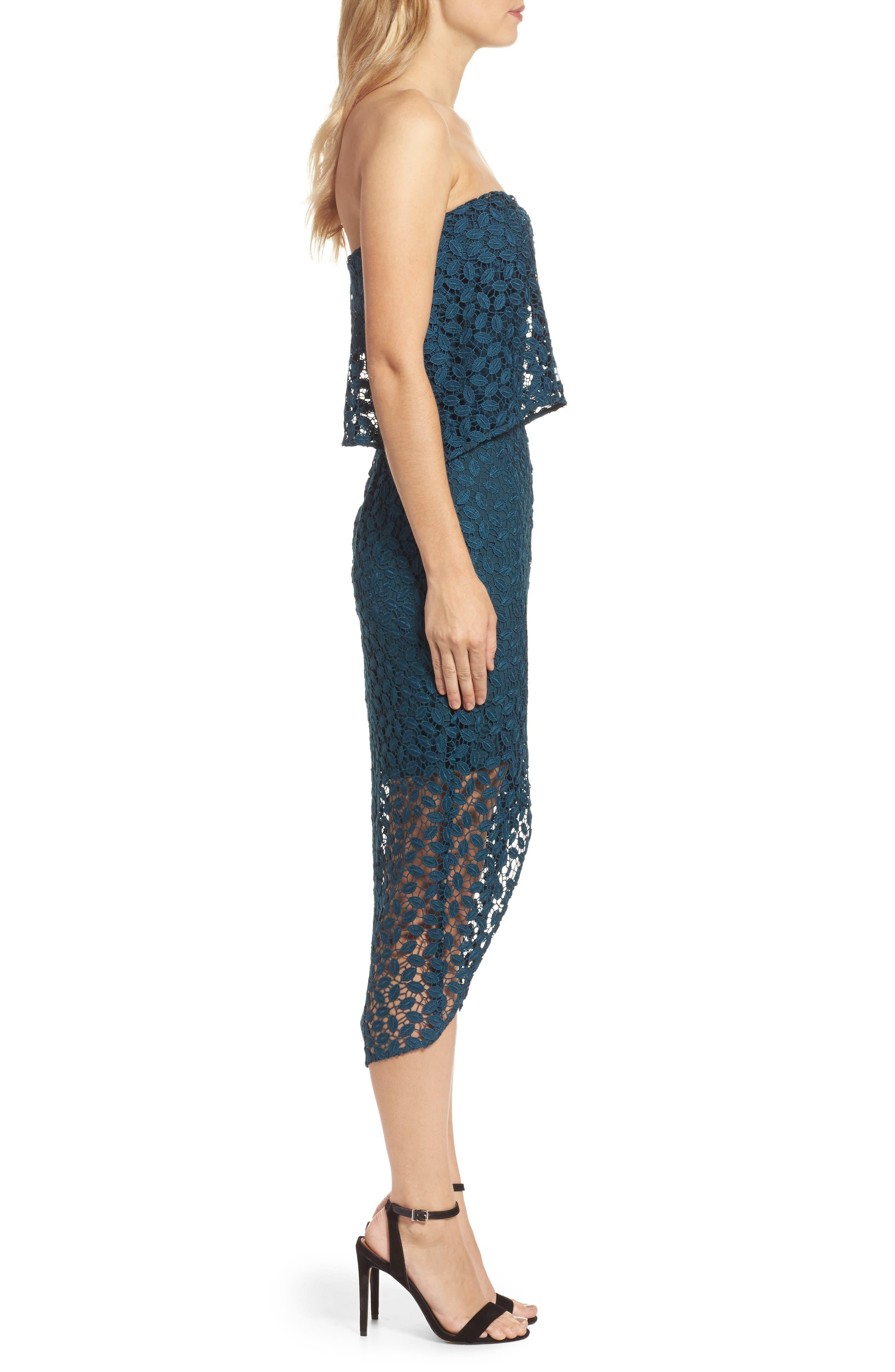 Strapless Popover Dress,                             Alternate thumbnail 3, color,                             440