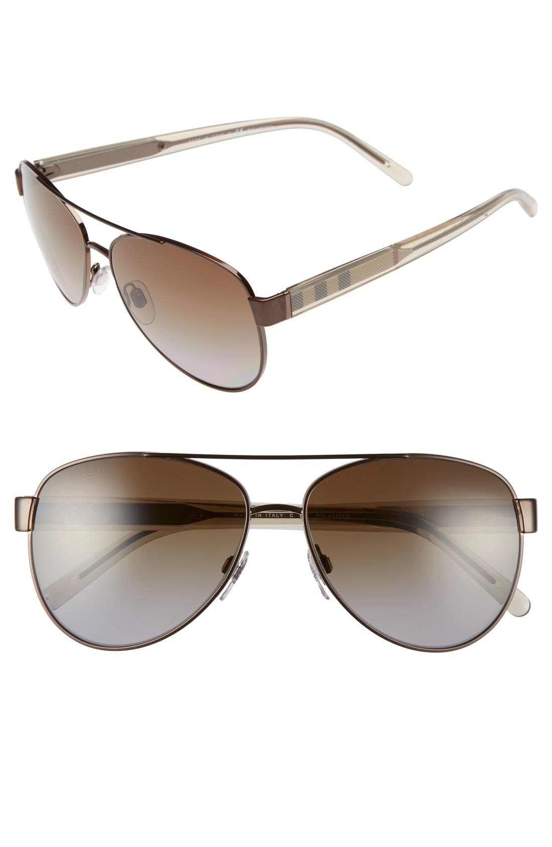57mm Polarized Aviator Sunglasses,                             Main thumbnail 2, color,