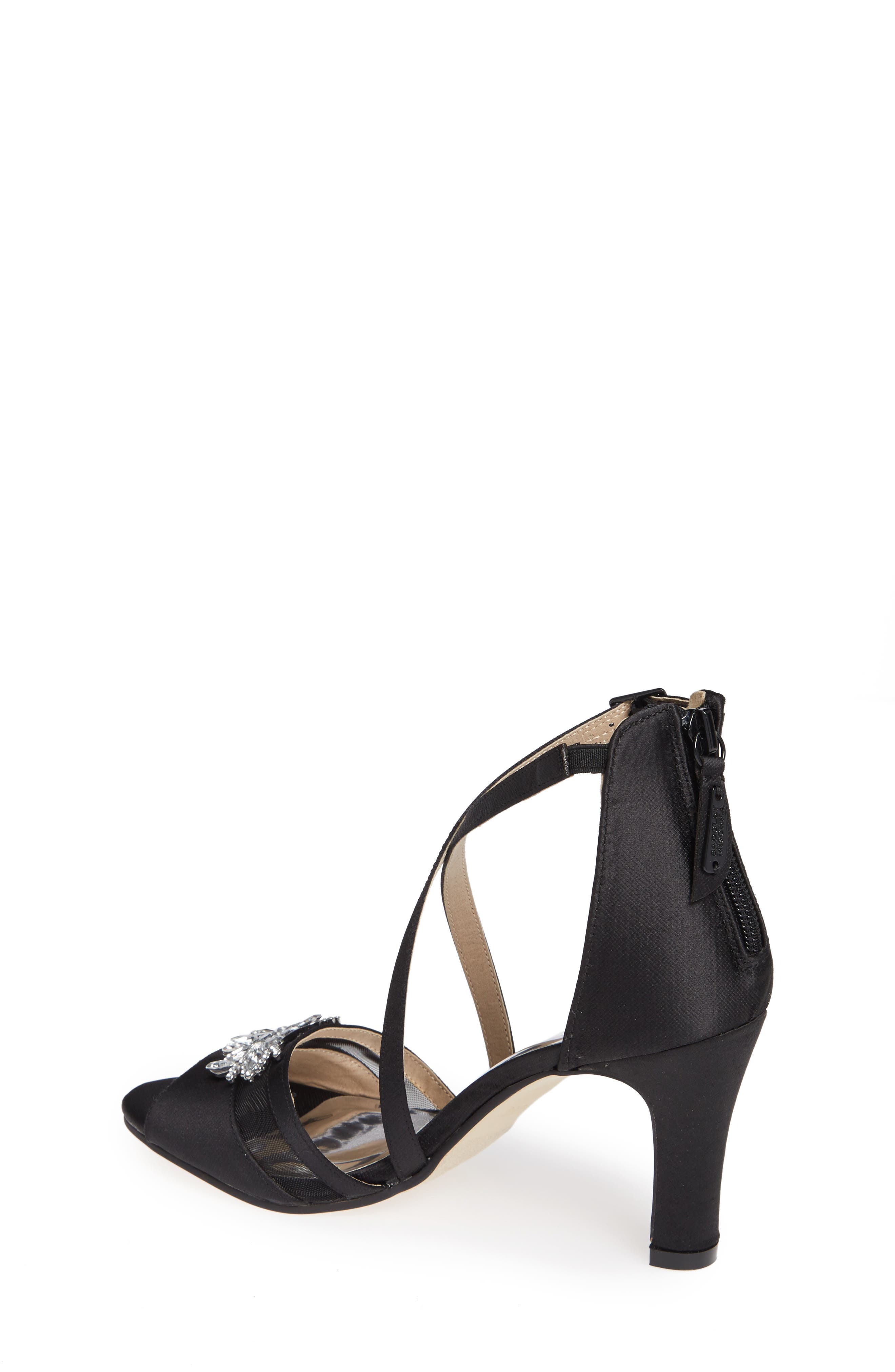 Badgley Mischka Kandall Hannah Embellished Cross Strap Sandal,                             Alternate thumbnail 2, color,                             BLACK SATIN