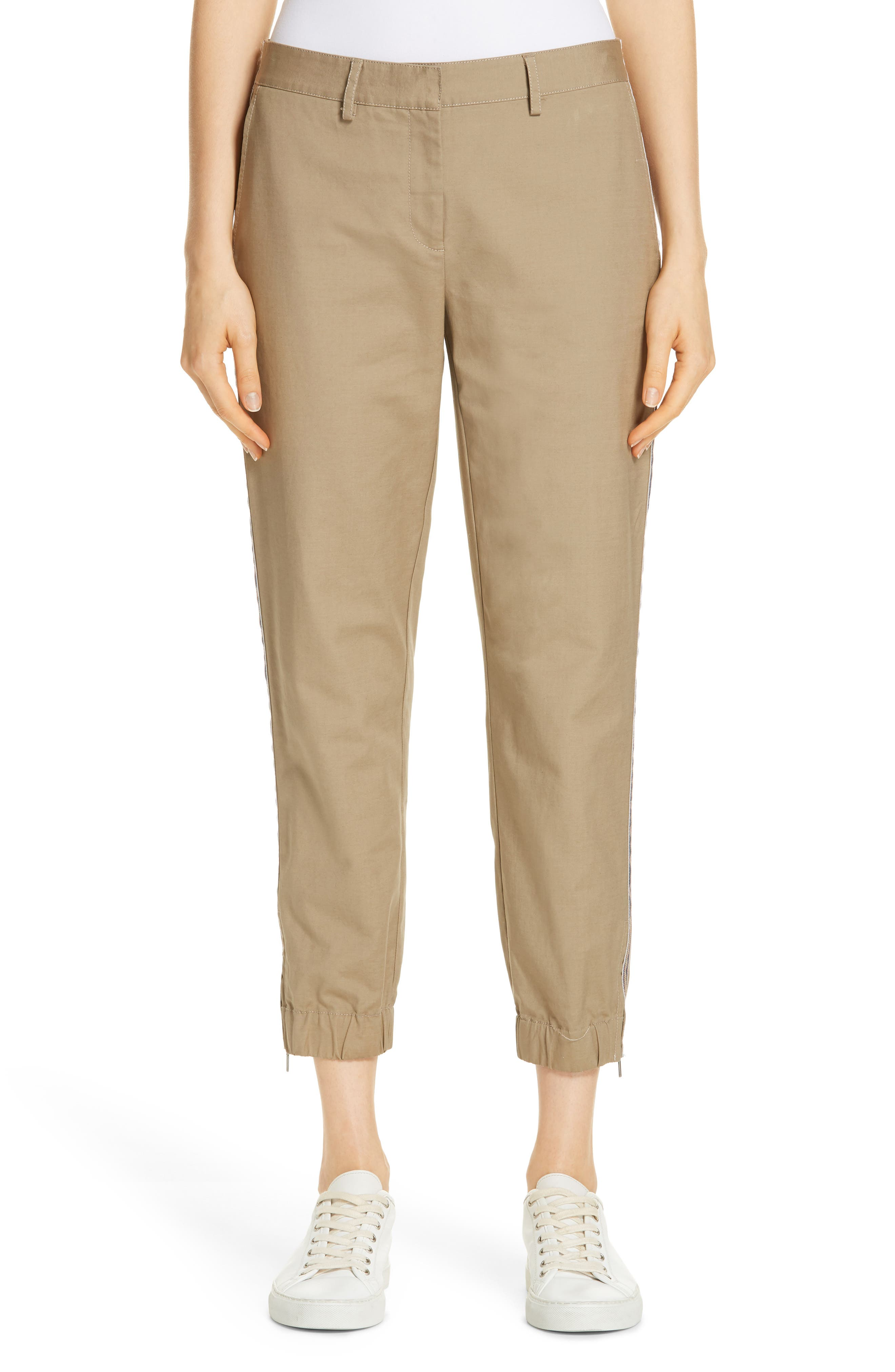 Zip Ankle Jogger Pants,                             Main thumbnail 1, color,                             TAN LEAD