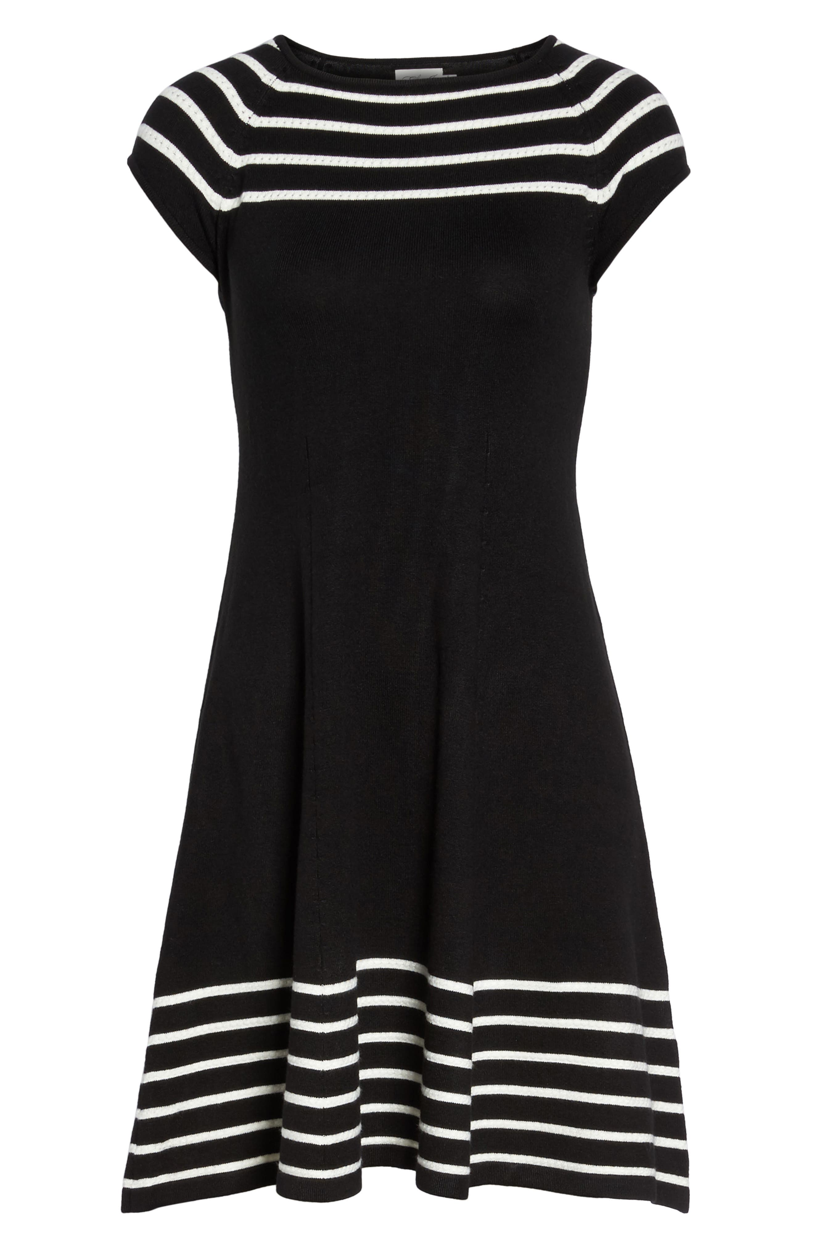 Stripe Knit Flared Dress,                             Alternate thumbnail 7, color,                             001