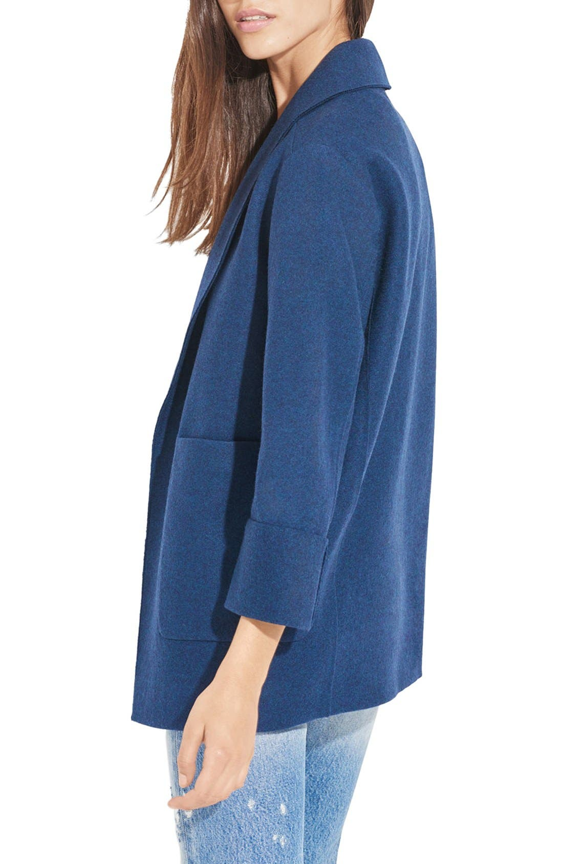 'The Blanket' Open Front Wool Coat,                             Alternate thumbnail 3, color,                             400
