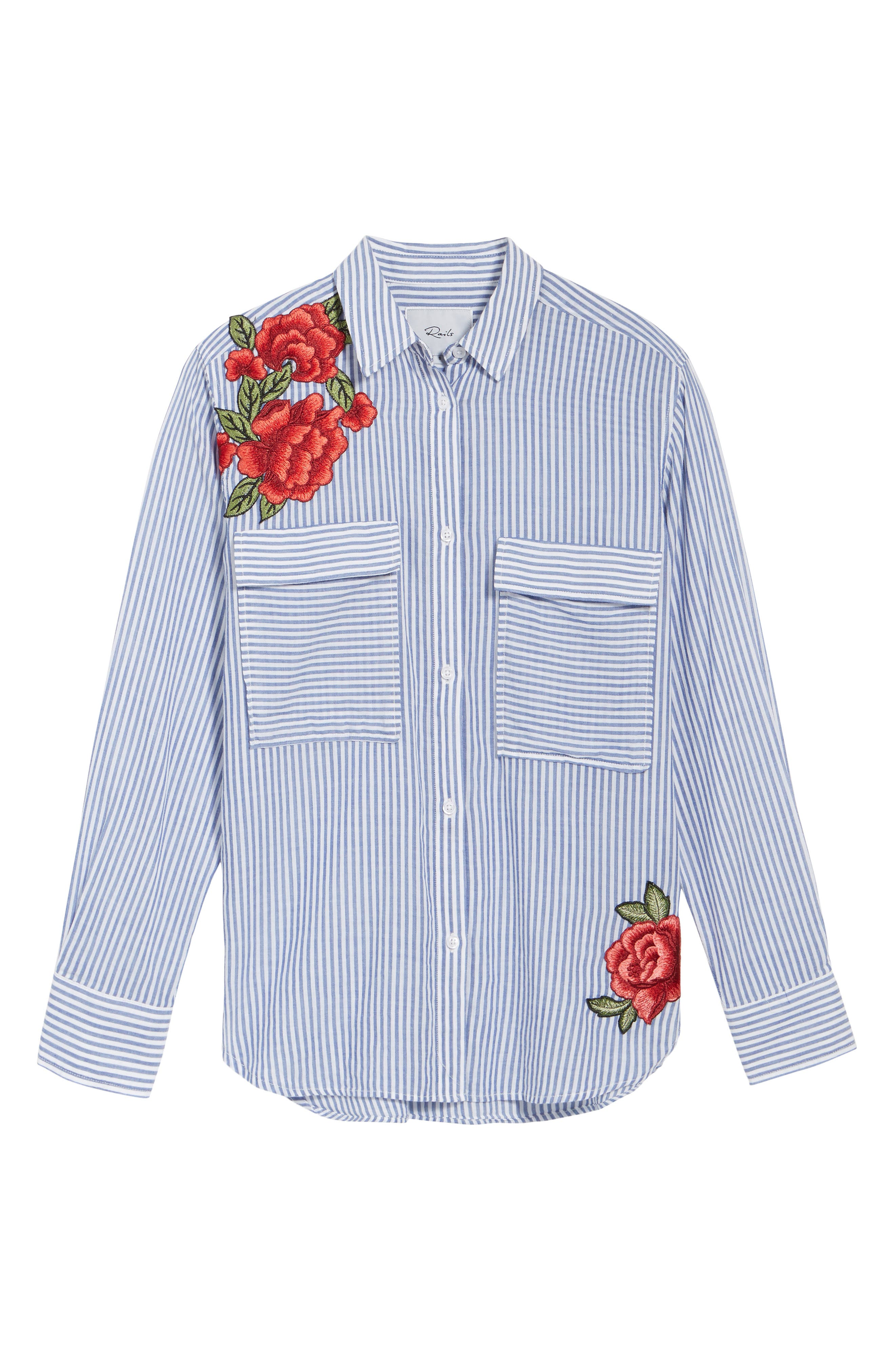 Frances Embroidered Stripe Shirt,                             Alternate thumbnail 6, color,                             425