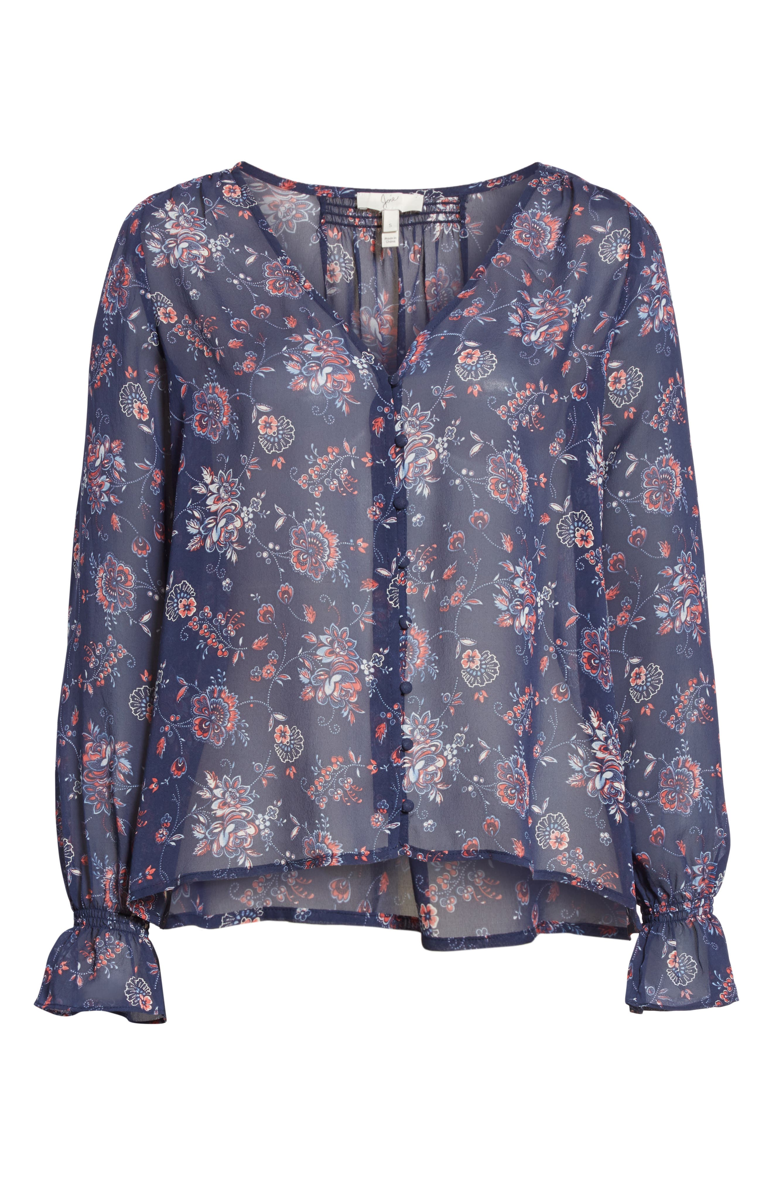 Bolona Floral Silk Blouse,                             Alternate thumbnail 6, color,                             418