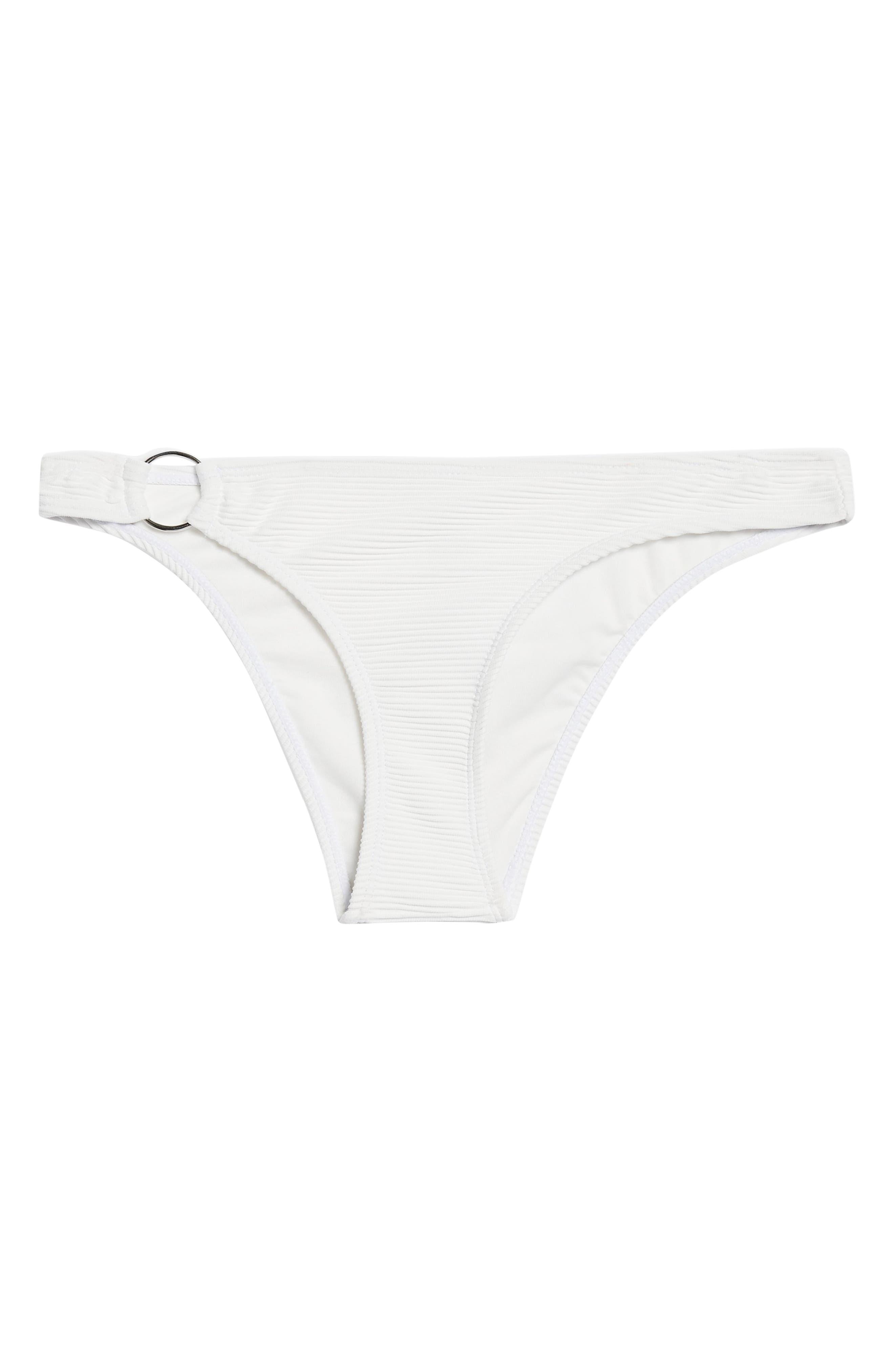 Ribbed Ring Bikini Bottoms,                             Alternate thumbnail 4, color,                             WHITE