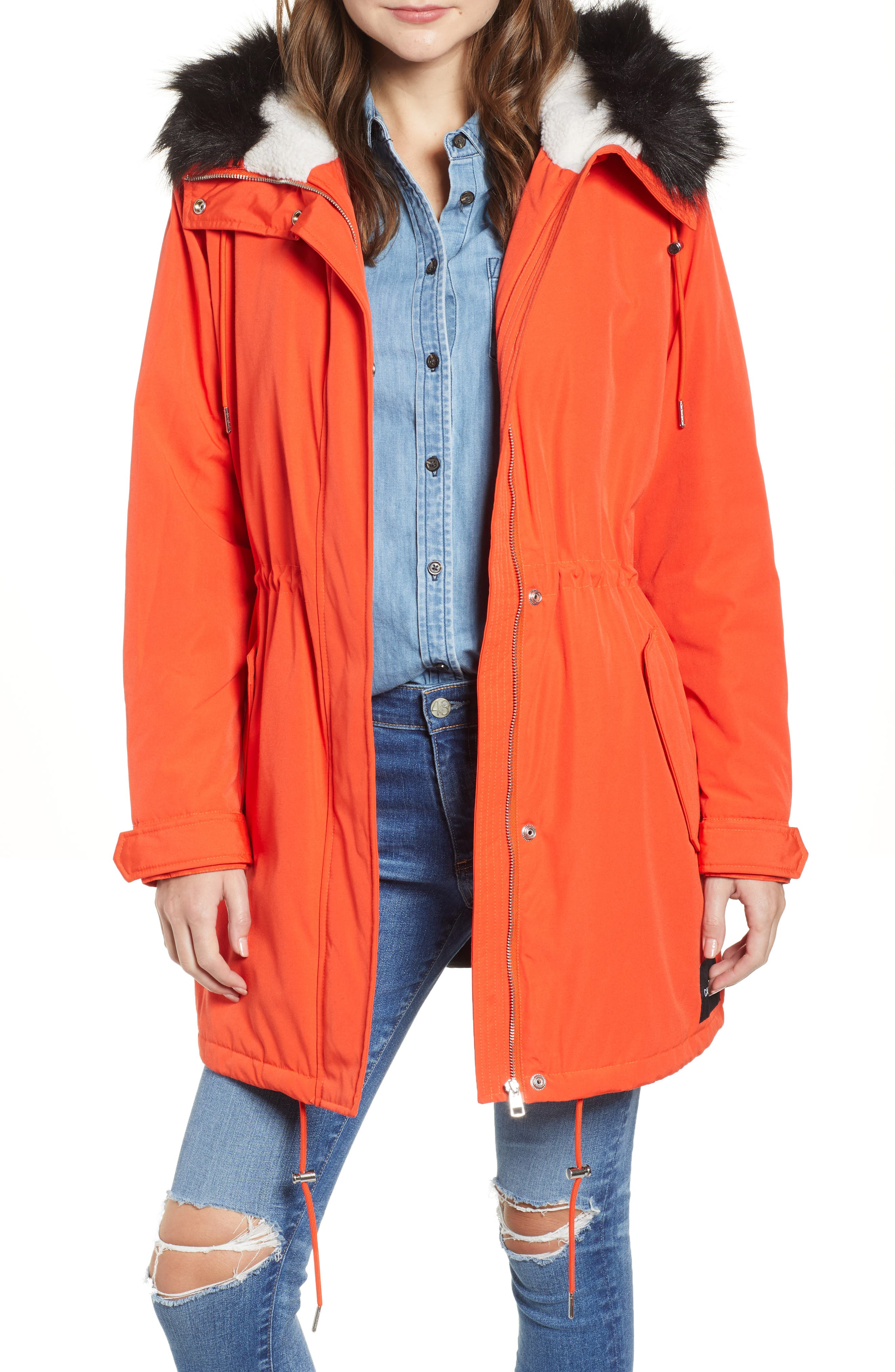 Faux Fur Trim Parka,                             Main thumbnail 1, color,                             600