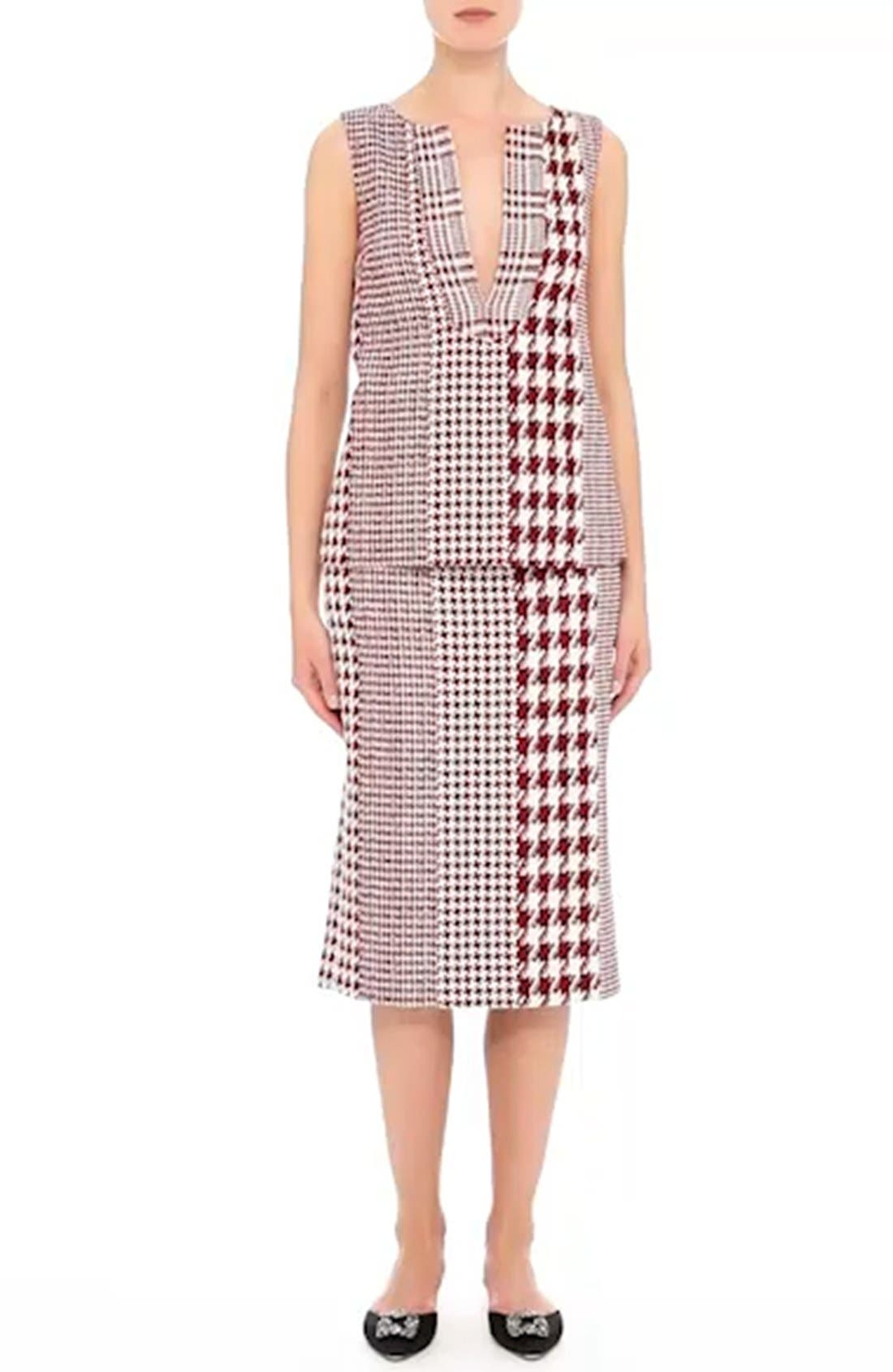 Houndstooth Watteau Blouse,                             Alternate thumbnail 3, color,