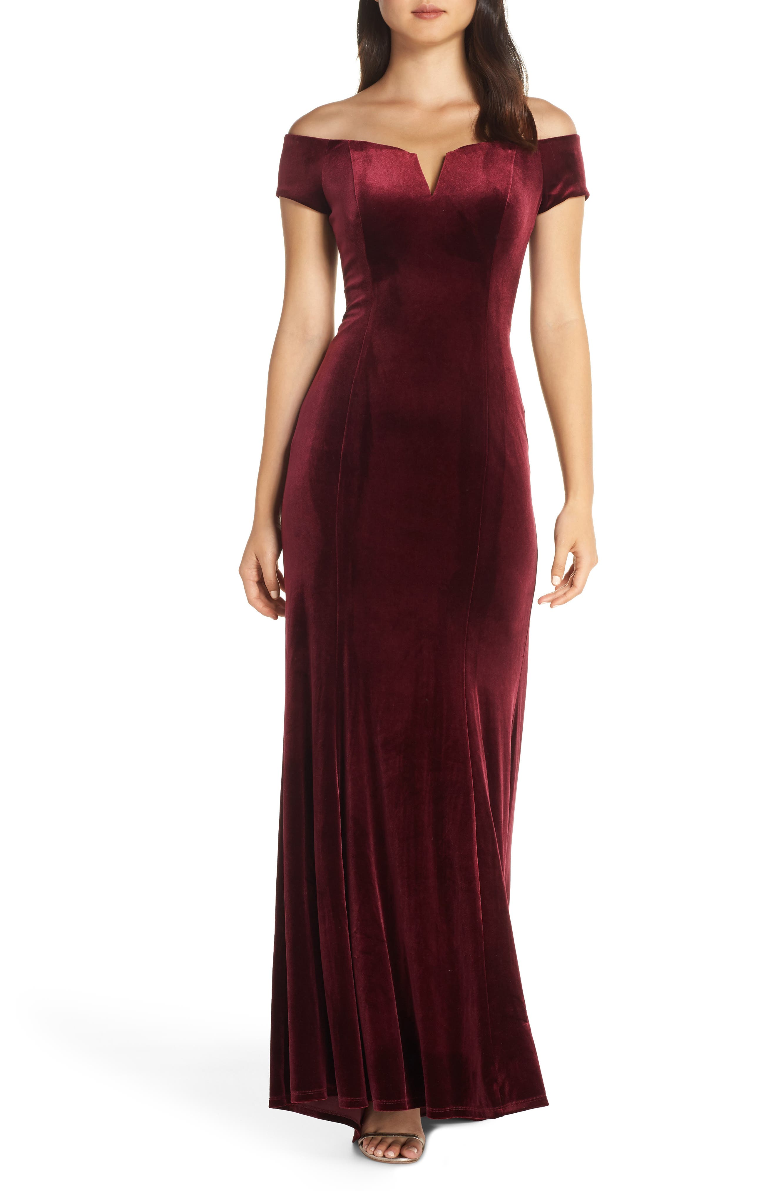 Vince Camuto Notch Neck Velvet Off The Shoulder Gown, Burgundy