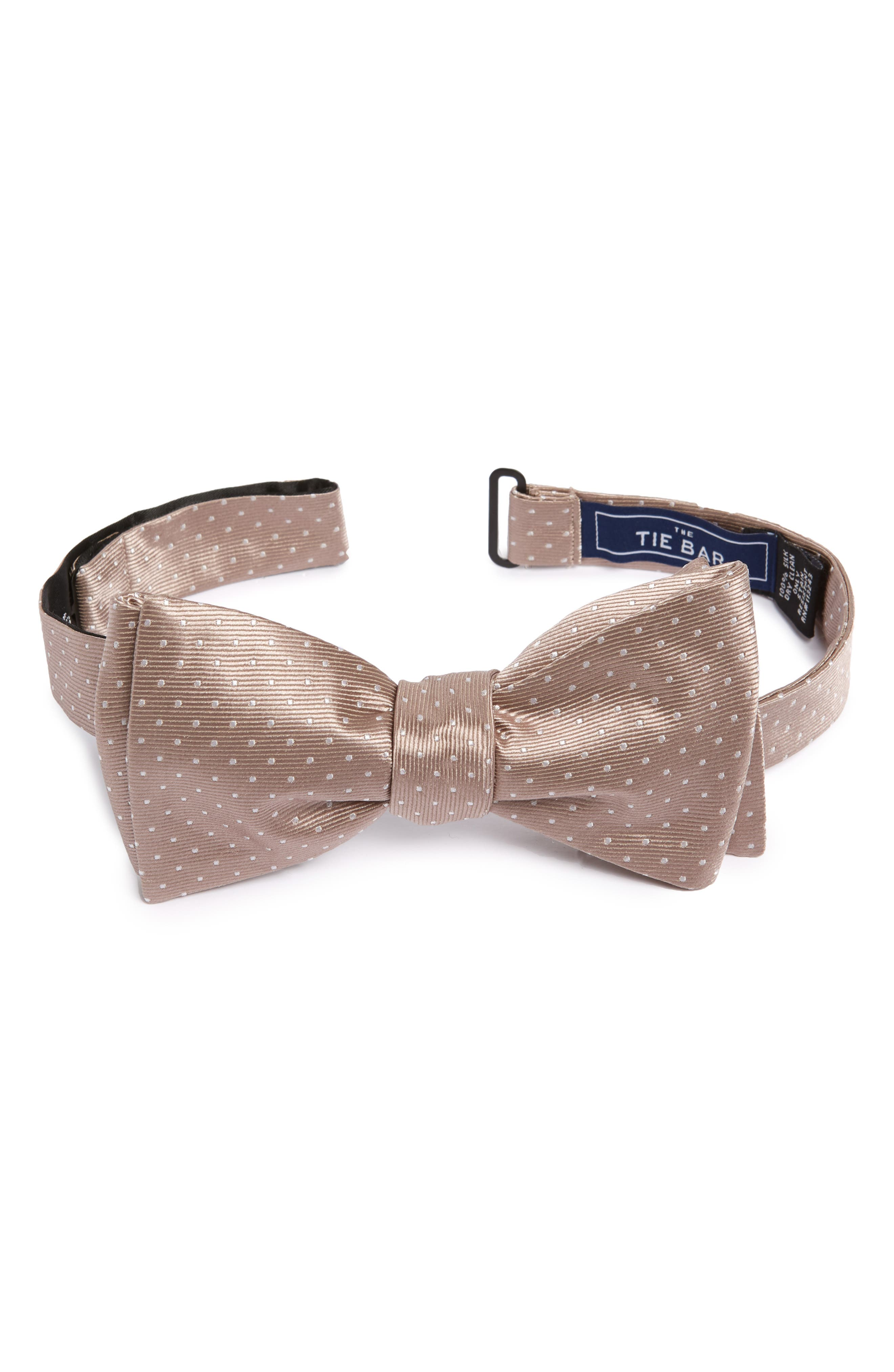 Pin Dot Silk Bow Tie,                             Main thumbnail 1, color,