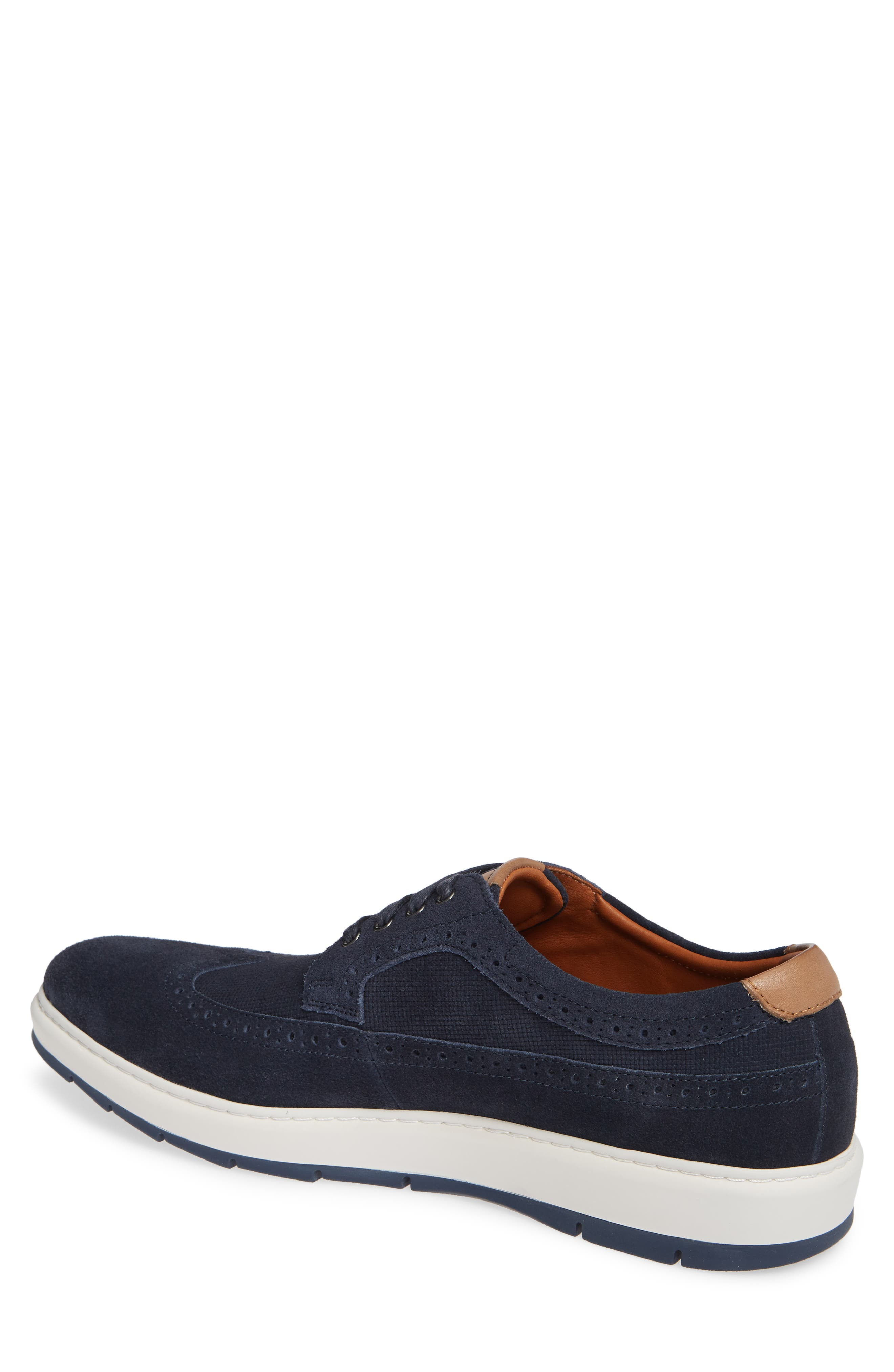 Elliston Wingtip Sneaker,                             Alternate thumbnail 2, color,                             NAVY SUEDE