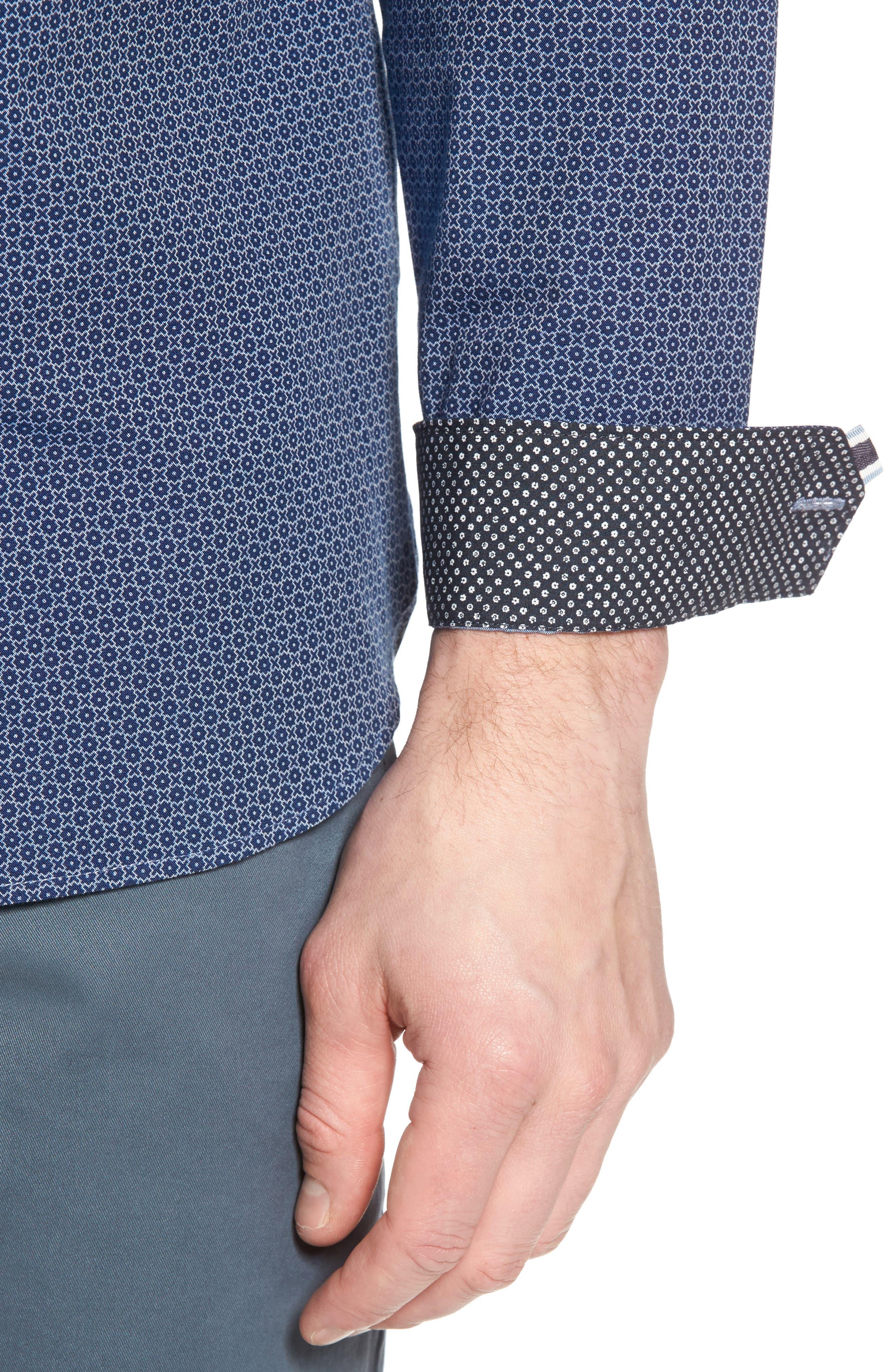 Holic Trim Fit Geometric Sport Shirt,                             Alternate thumbnail 7, color,