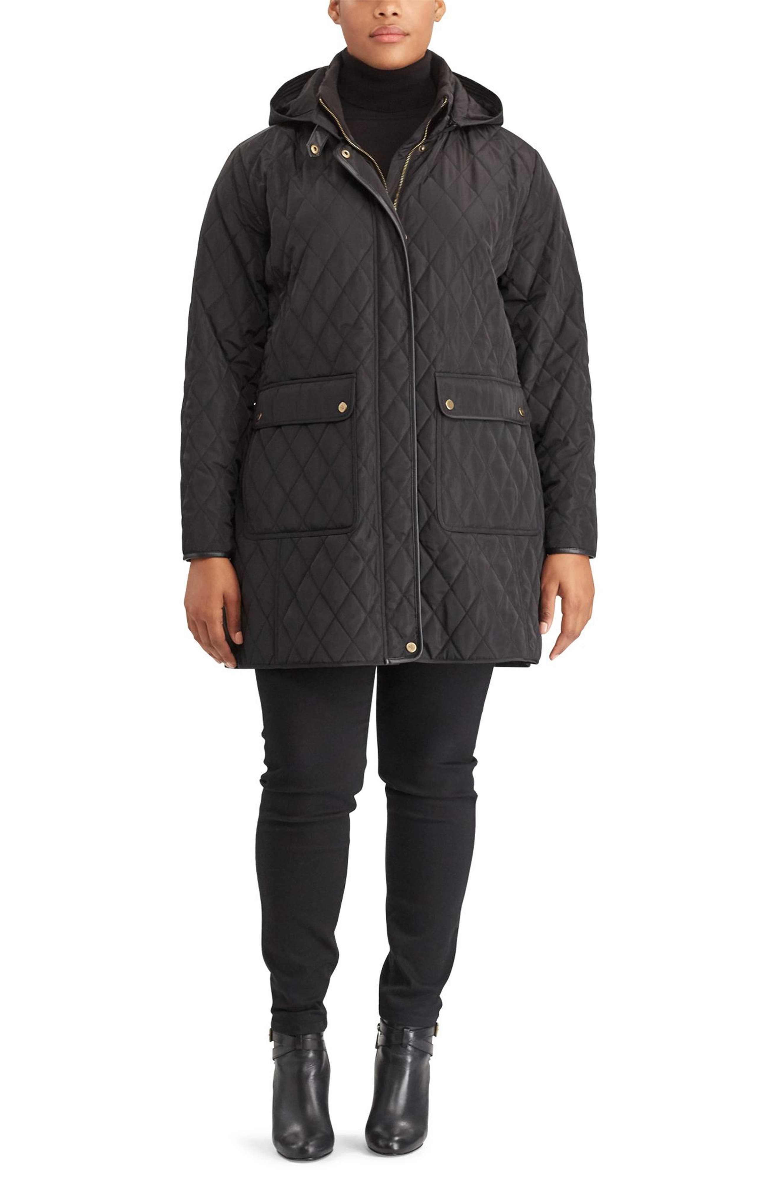 Diamond Quilted Jacket with Faux Leather Trim,                             Alternate thumbnail 4, color,                             001
