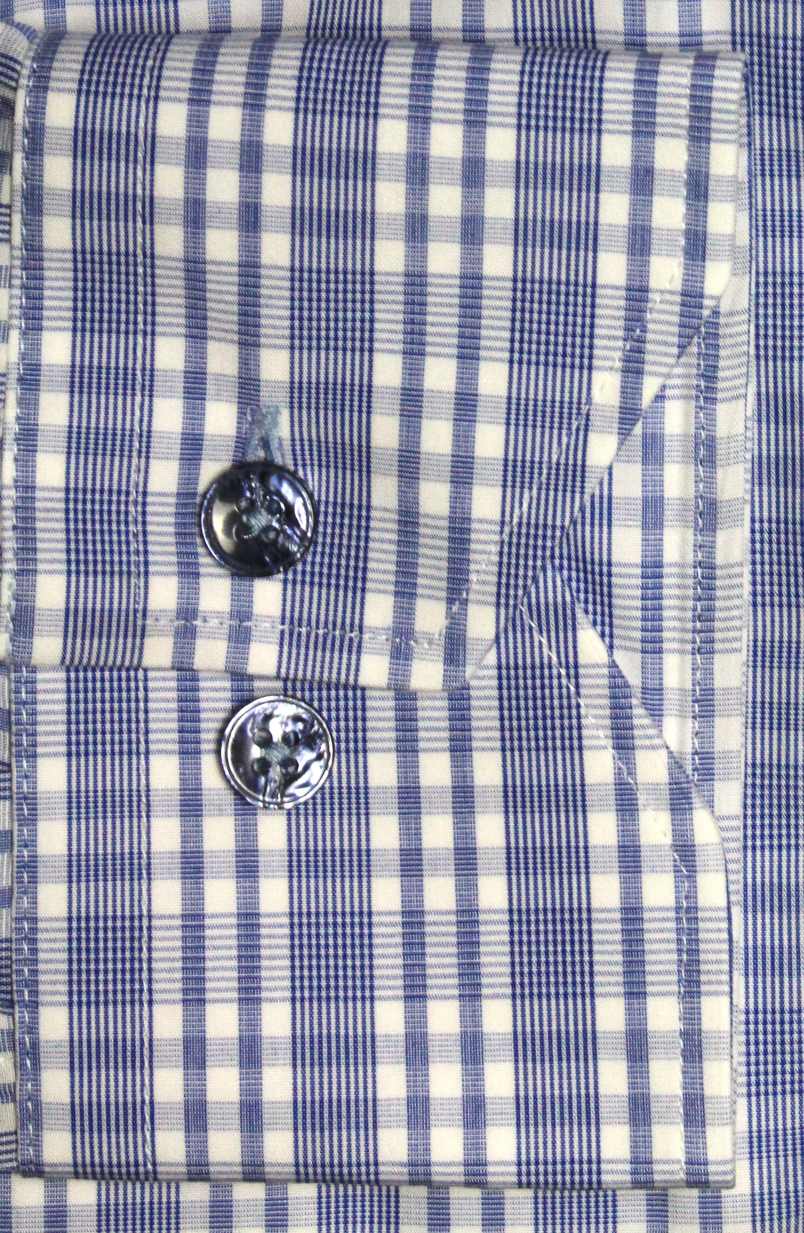 Trim Fit Plaid Dress Shirt,                             Alternate thumbnail 2, color,                             LIGHT BLUE