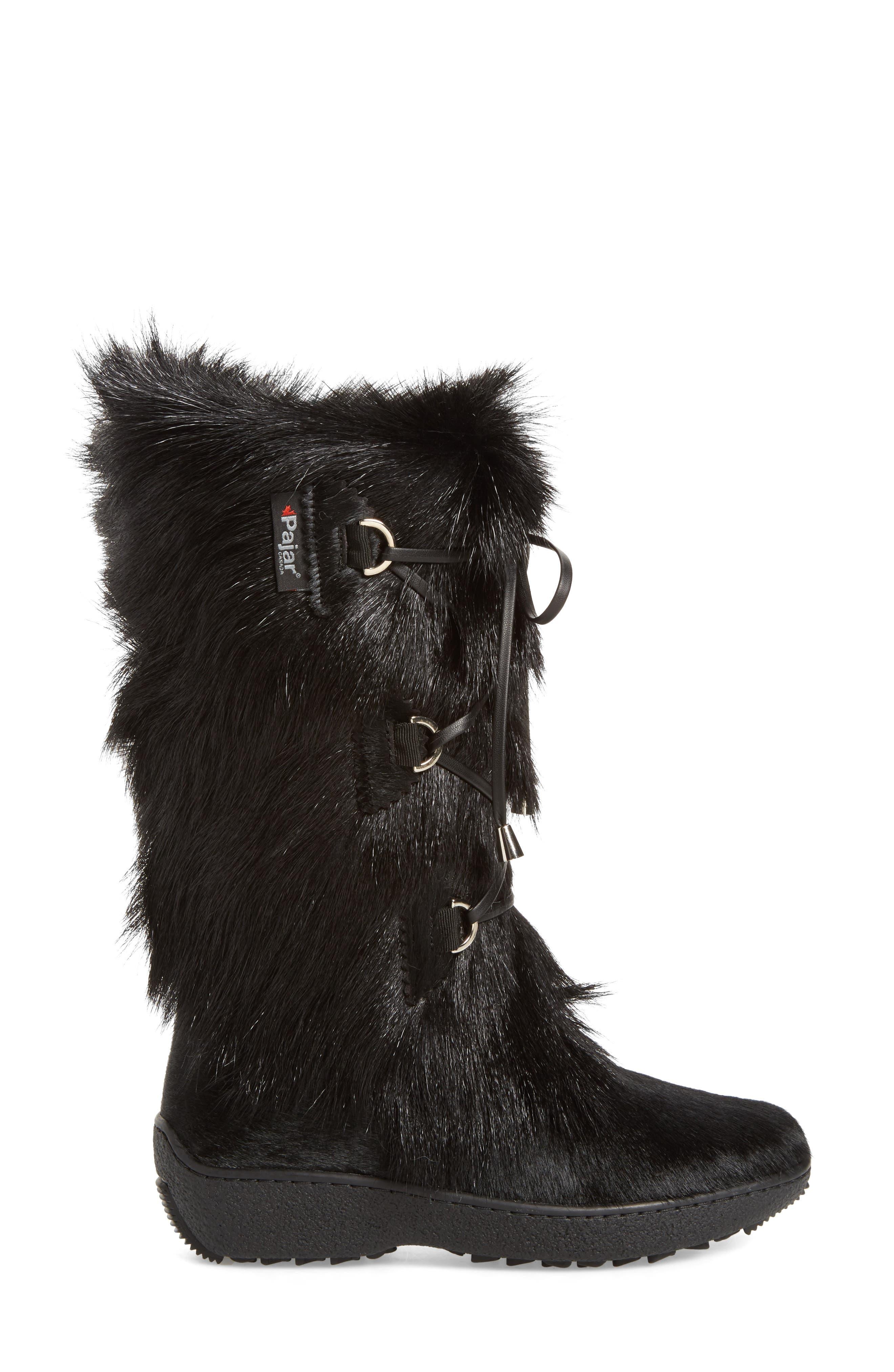 Davos Genuine Goat Fur Boot,                             Alternate thumbnail 3, color,                             001