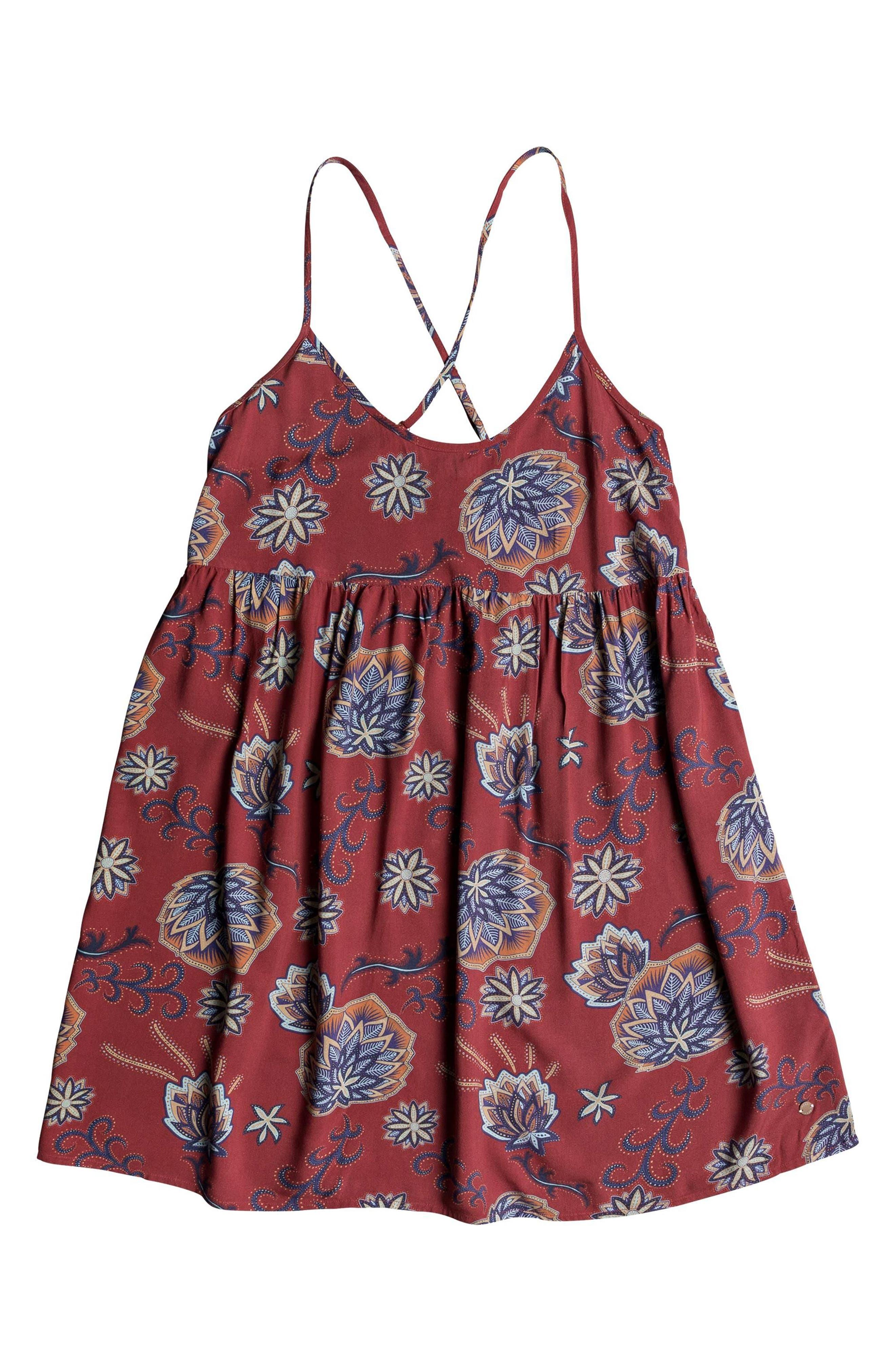 Tropical Sundance Print Babydoll Dress,                             Alternate thumbnail 3, color,                             001
