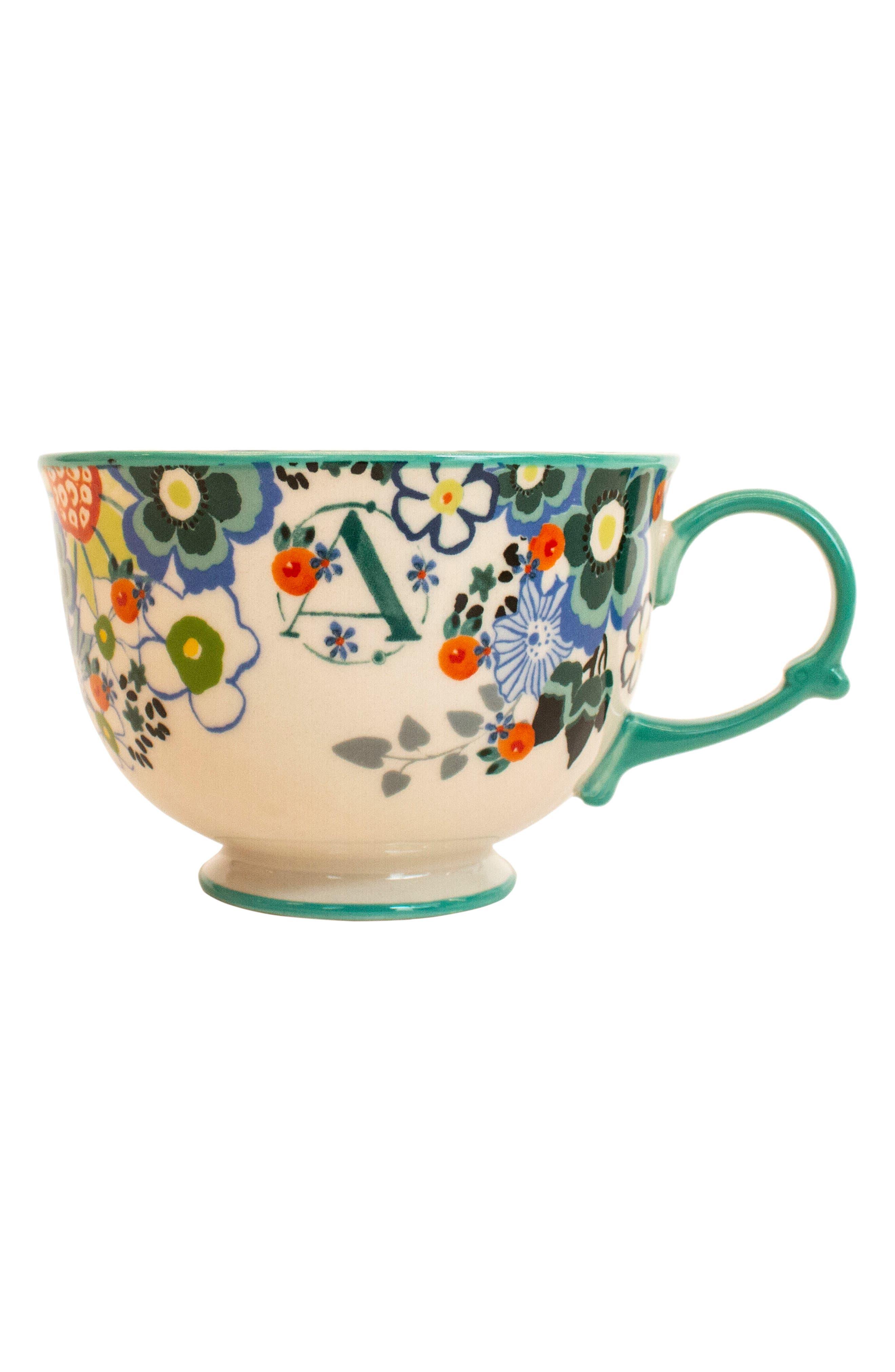 Tea Time Monogram Mug,                             Alternate thumbnail 5, color,                             A