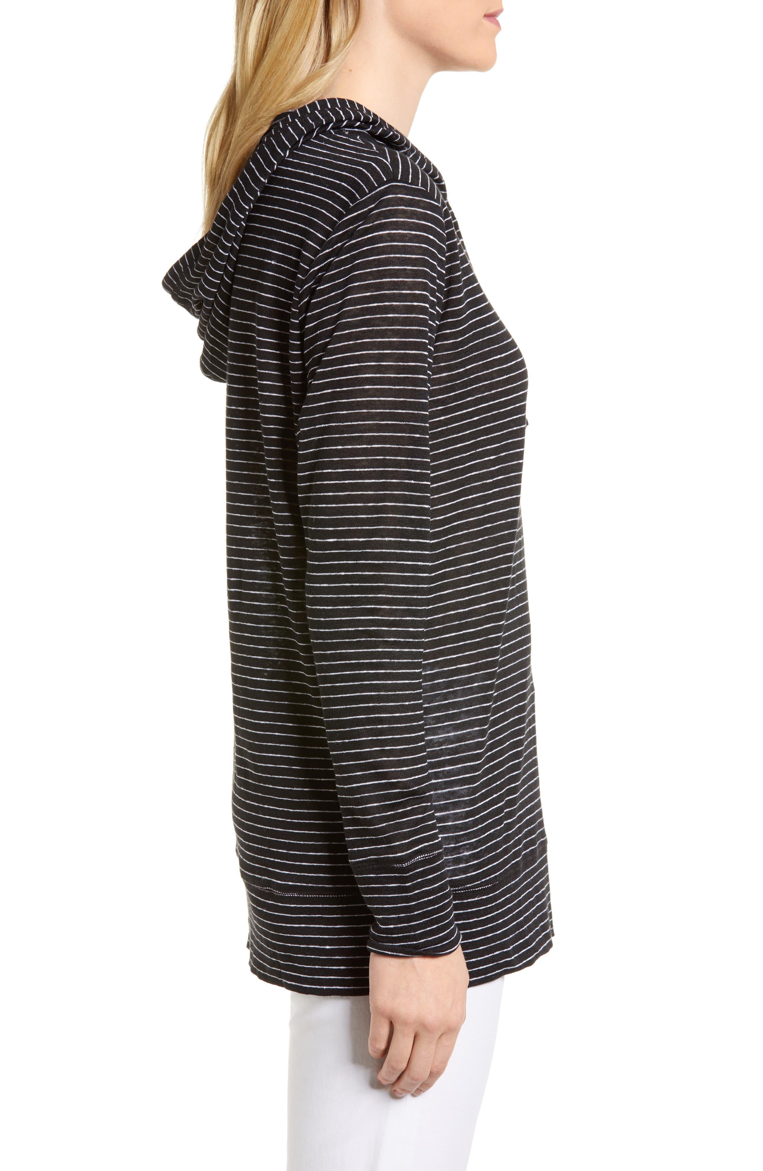 Knit Linen Hoodie,                             Alternate thumbnail 3, color,                             BLACK- IVORY SKINNY STRIPE