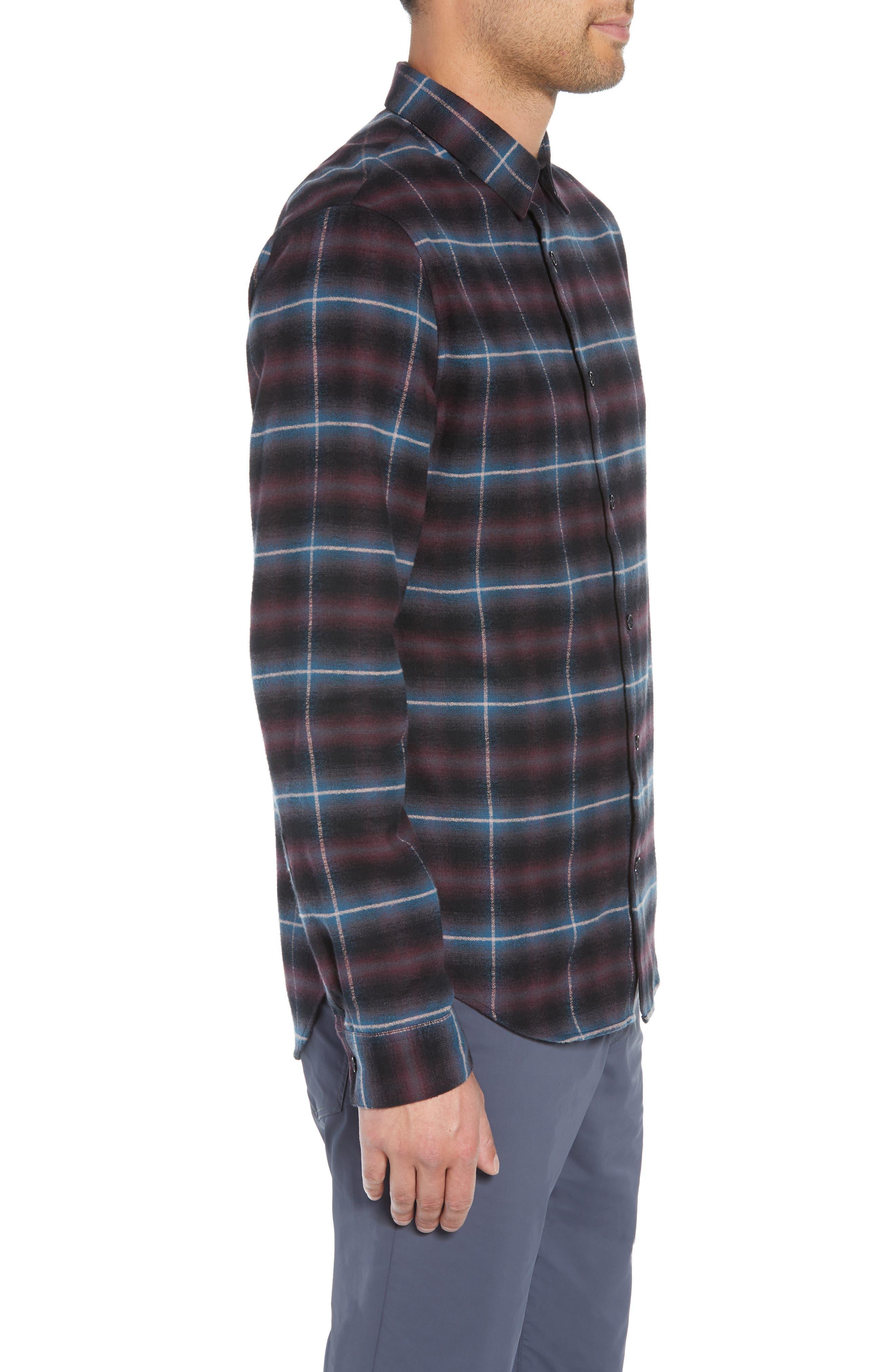 Slim Fit Shadow Plaid Grid Sport Shirt,                             Alternate thumbnail 4, color,                             MULBERRY