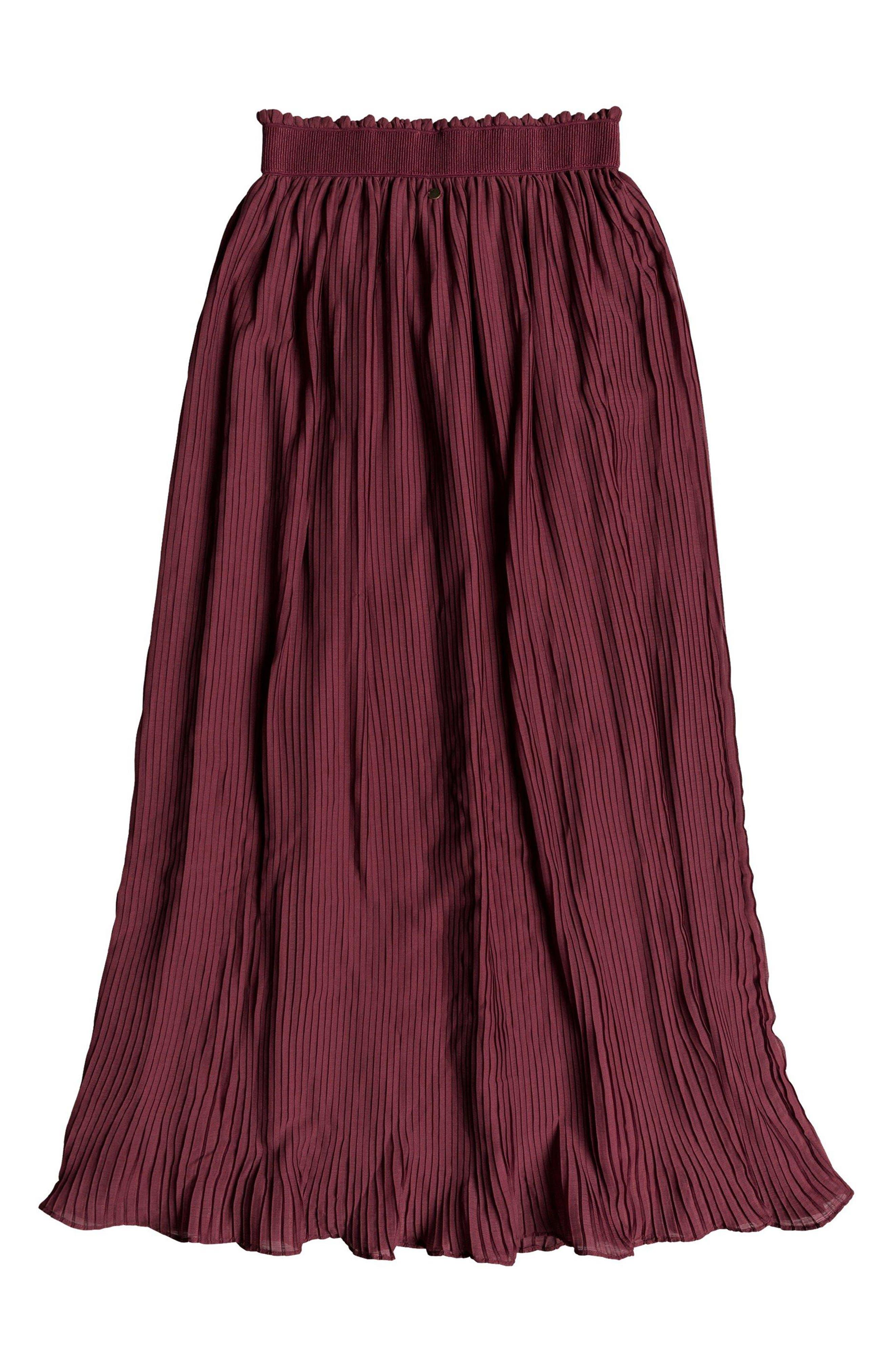 ROXY,                             Green Canyon Midi Skirt,                             Alternate thumbnail 5, color,                             OXBLOOD RED