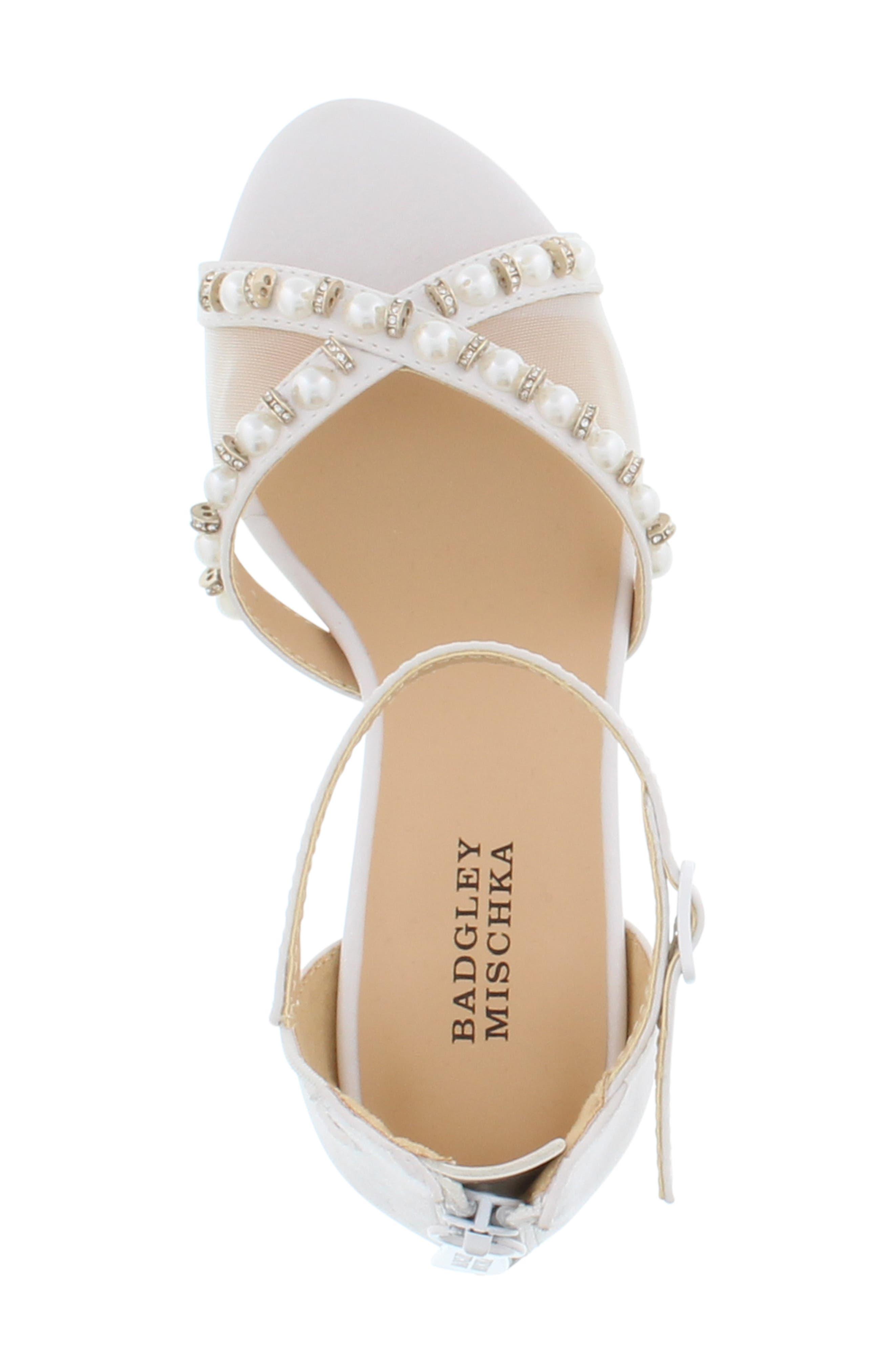 BADGLEY MISCHKA COLLECTION,                             Badgley Mischka Pernia Emily Embellished Sandal,                             Alternate thumbnail 4, color,                             WHITE SHIMMER