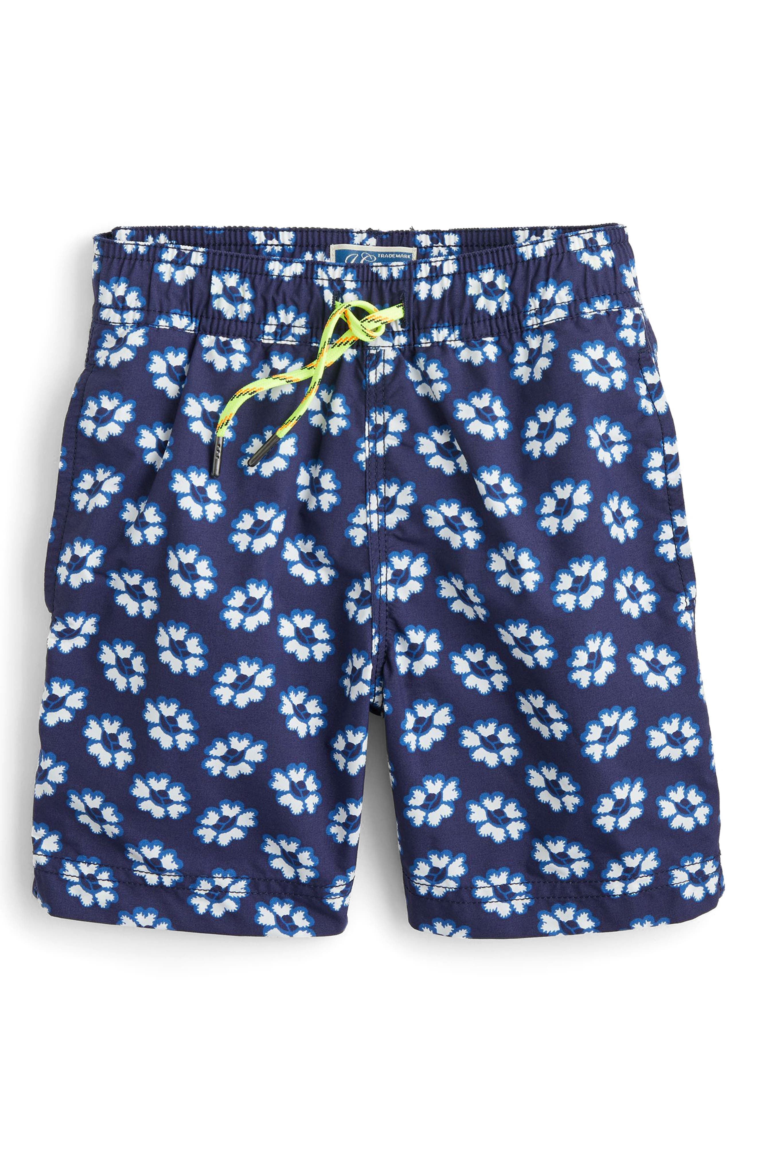 Blurry Flowers Swim Trunks,                             Main thumbnail 1, color,                             400