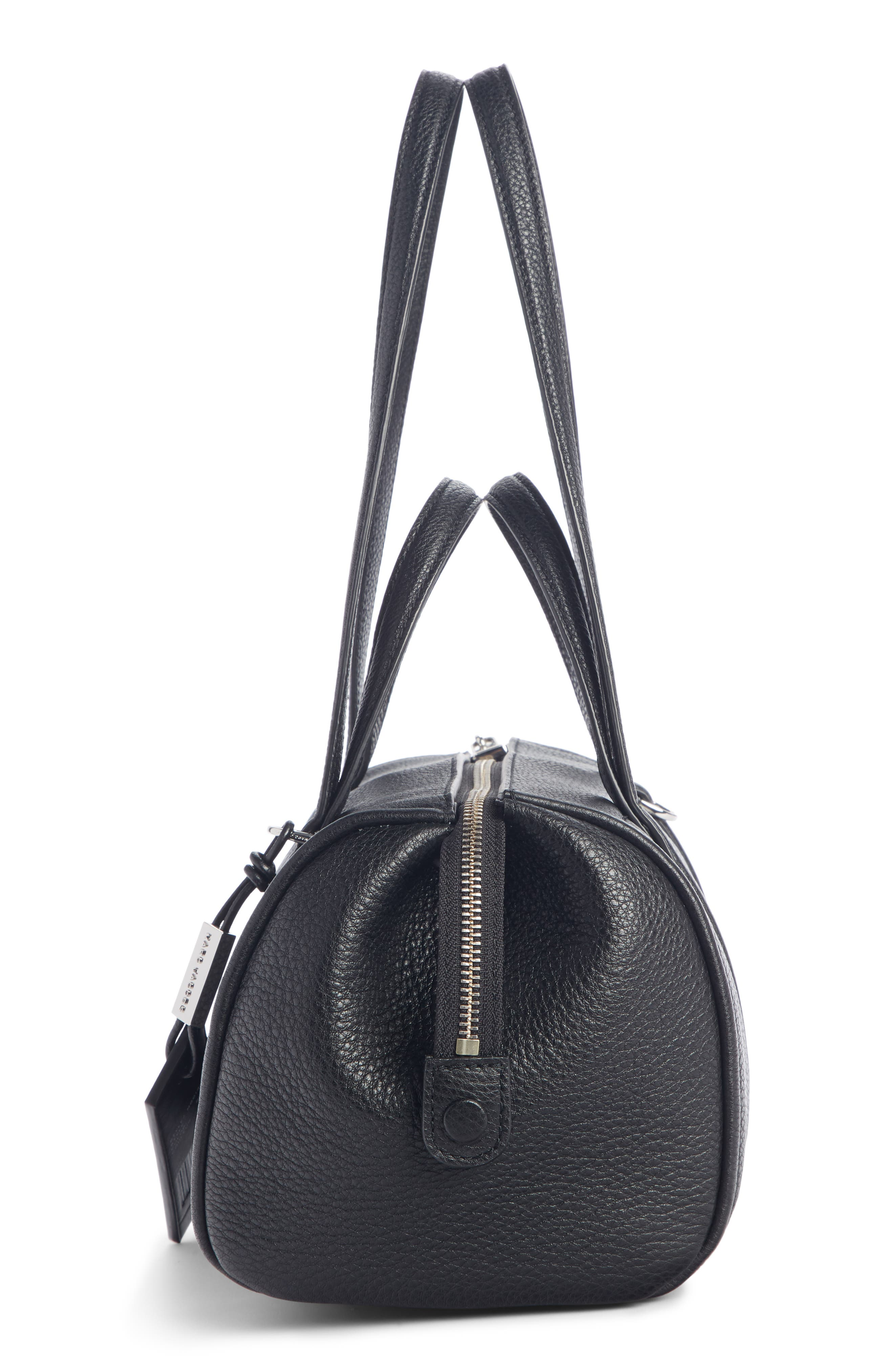 The Tag 26 Bauletto Leather Bag,                             Alternate thumbnail 4, color,                             BLACK