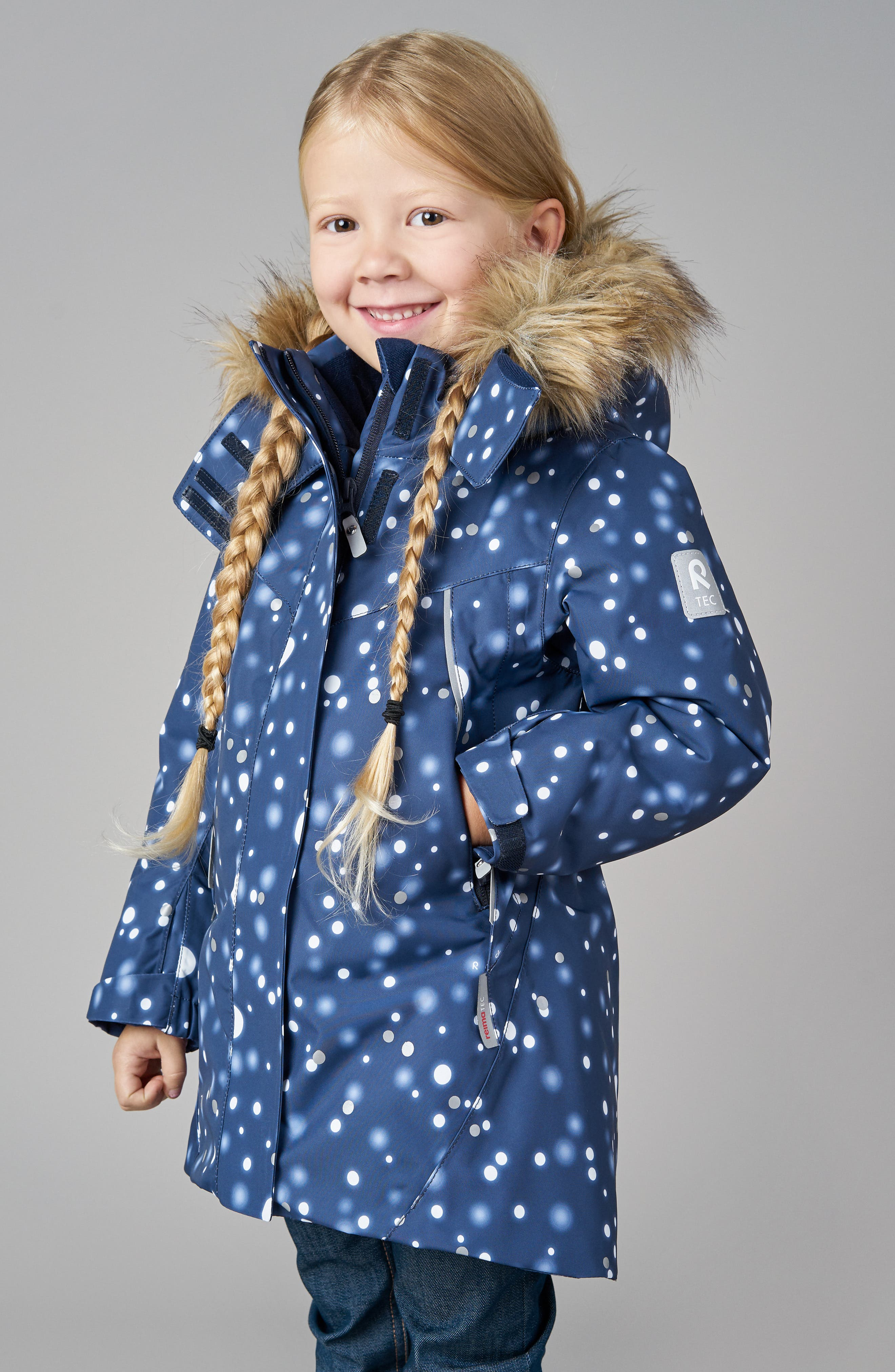 Silda Reimatec<sup>®</sup> Waterproof Hooded Jacket with Faux Fur Trim,                             Alternate thumbnail 4, color,                             BLUE