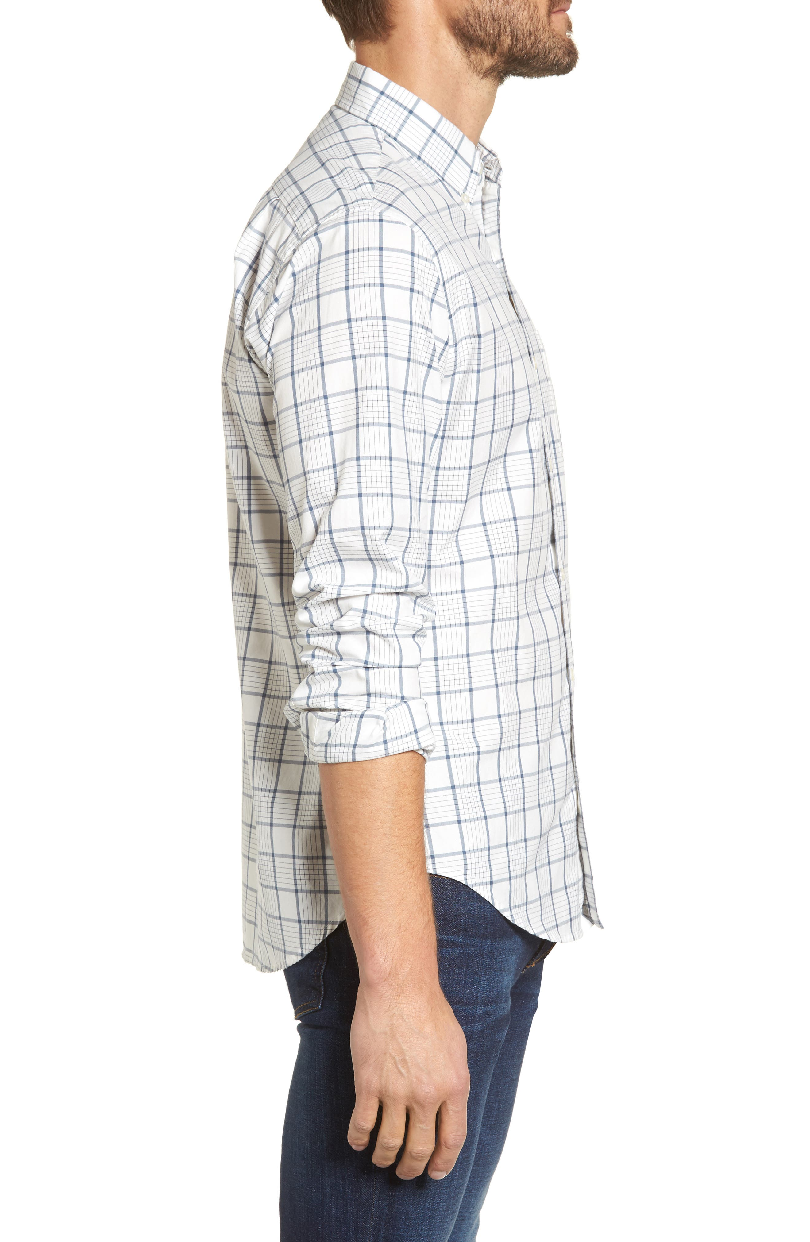 Slim Fit Washed Plaid Sport Shirt,                             Alternate thumbnail 3, color,                             100