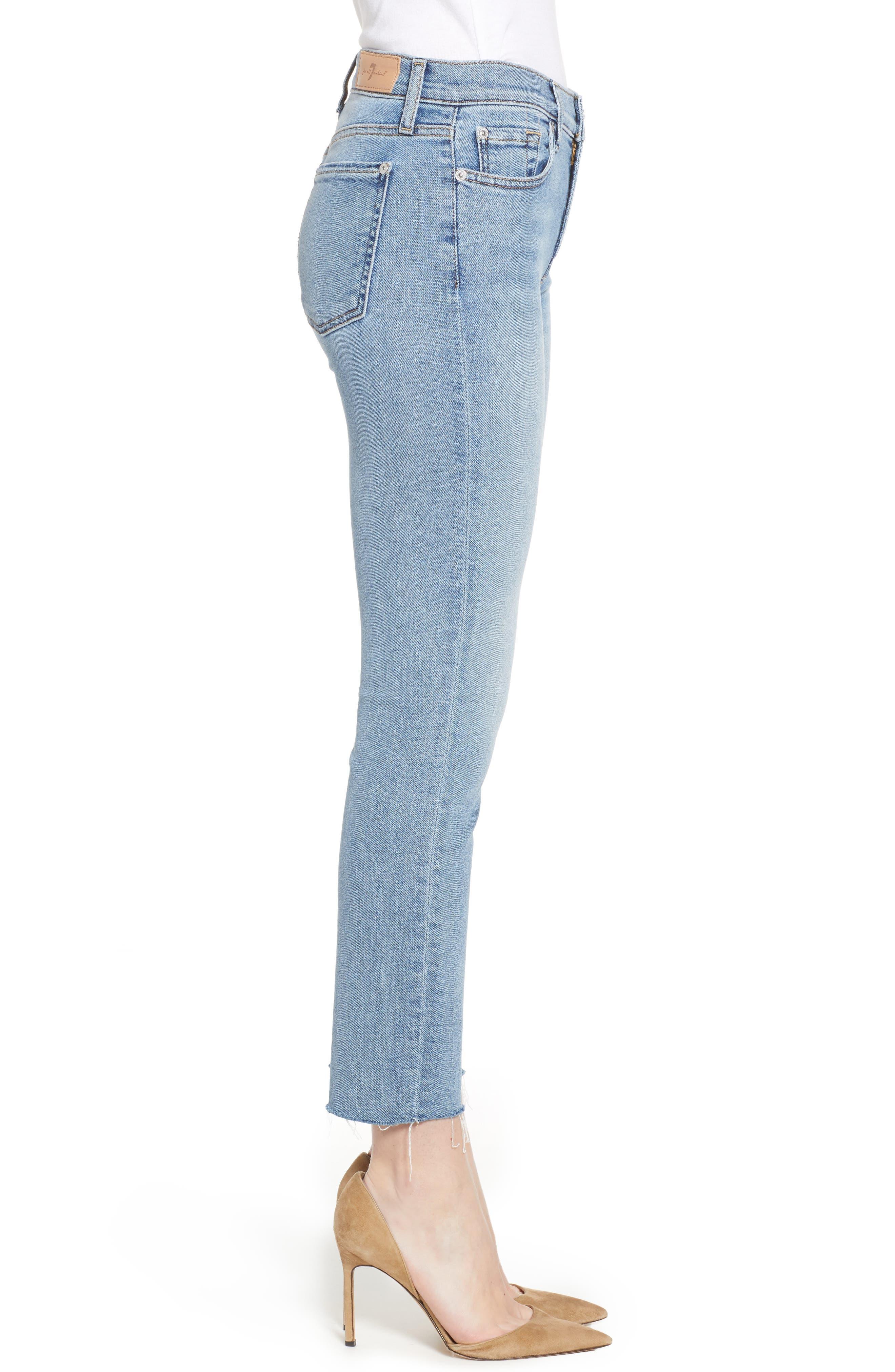 Roxanne Raw Hem Ankle Slim Jeans,                             Alternate thumbnail 3, color,                             403