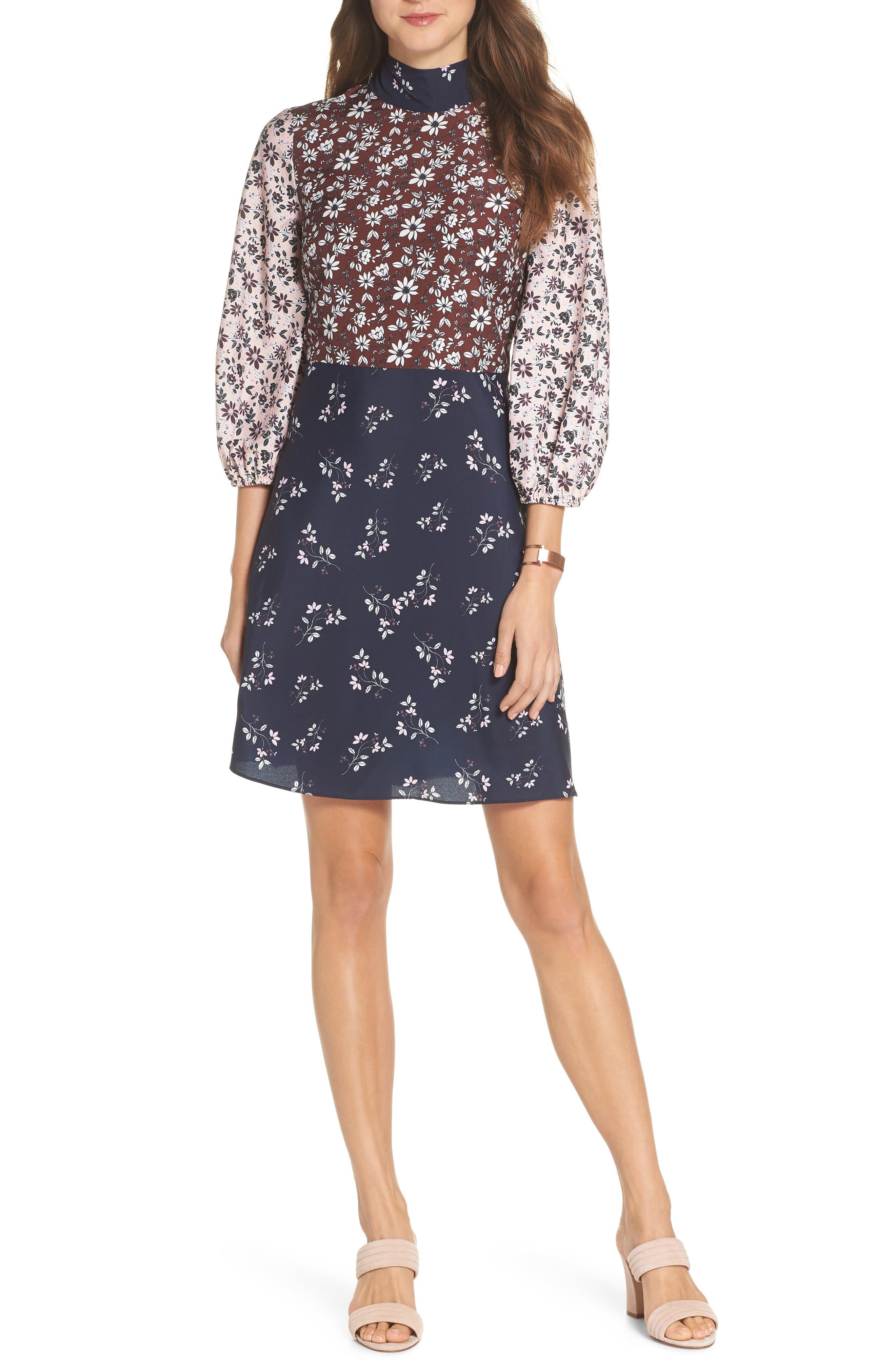 Colorblock Floral Woven Dress,                         Main,                         color, 400