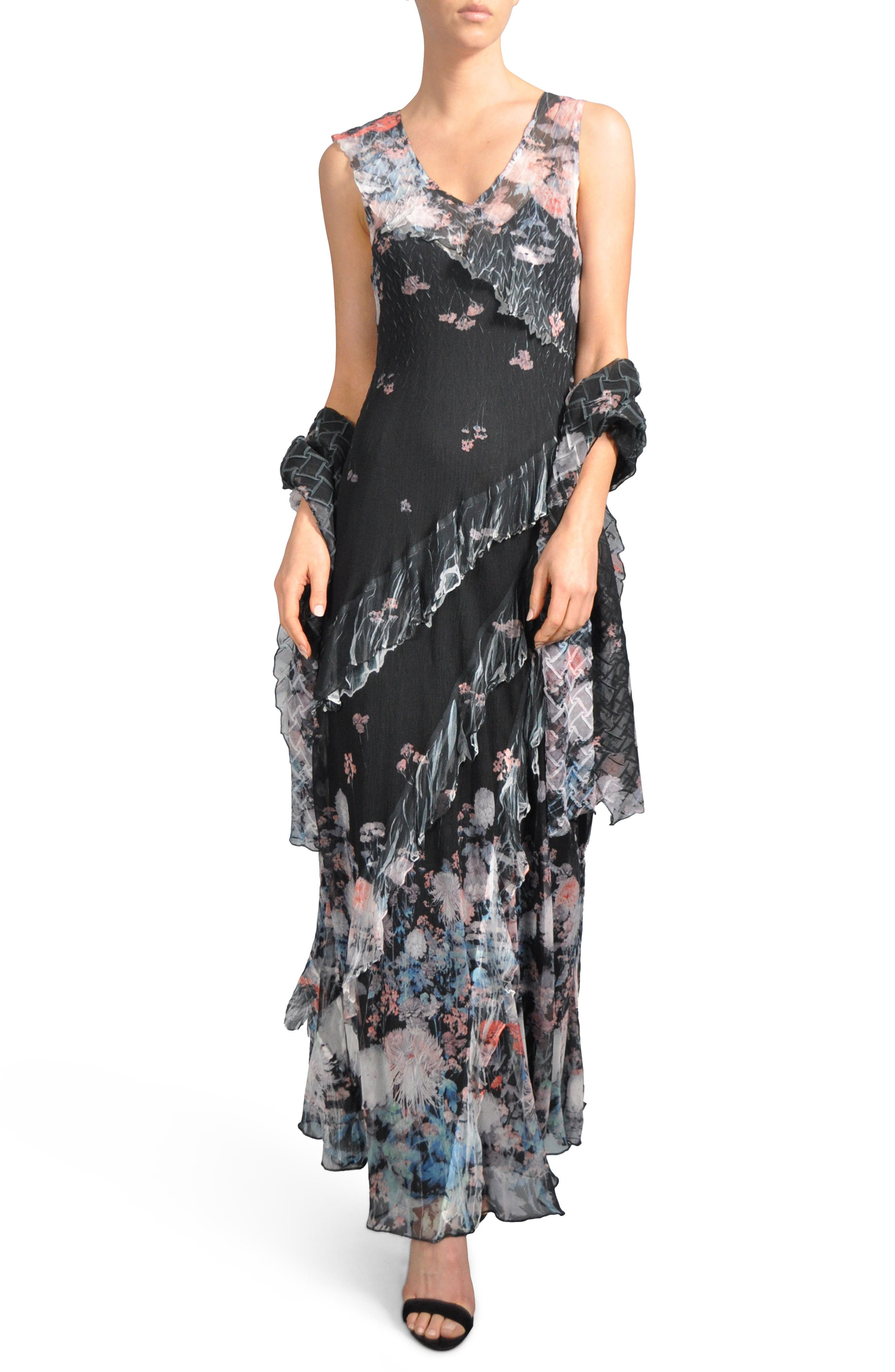 Ruffle Maxi Dress with Wrap,                             Main thumbnail 1, color,                             008
