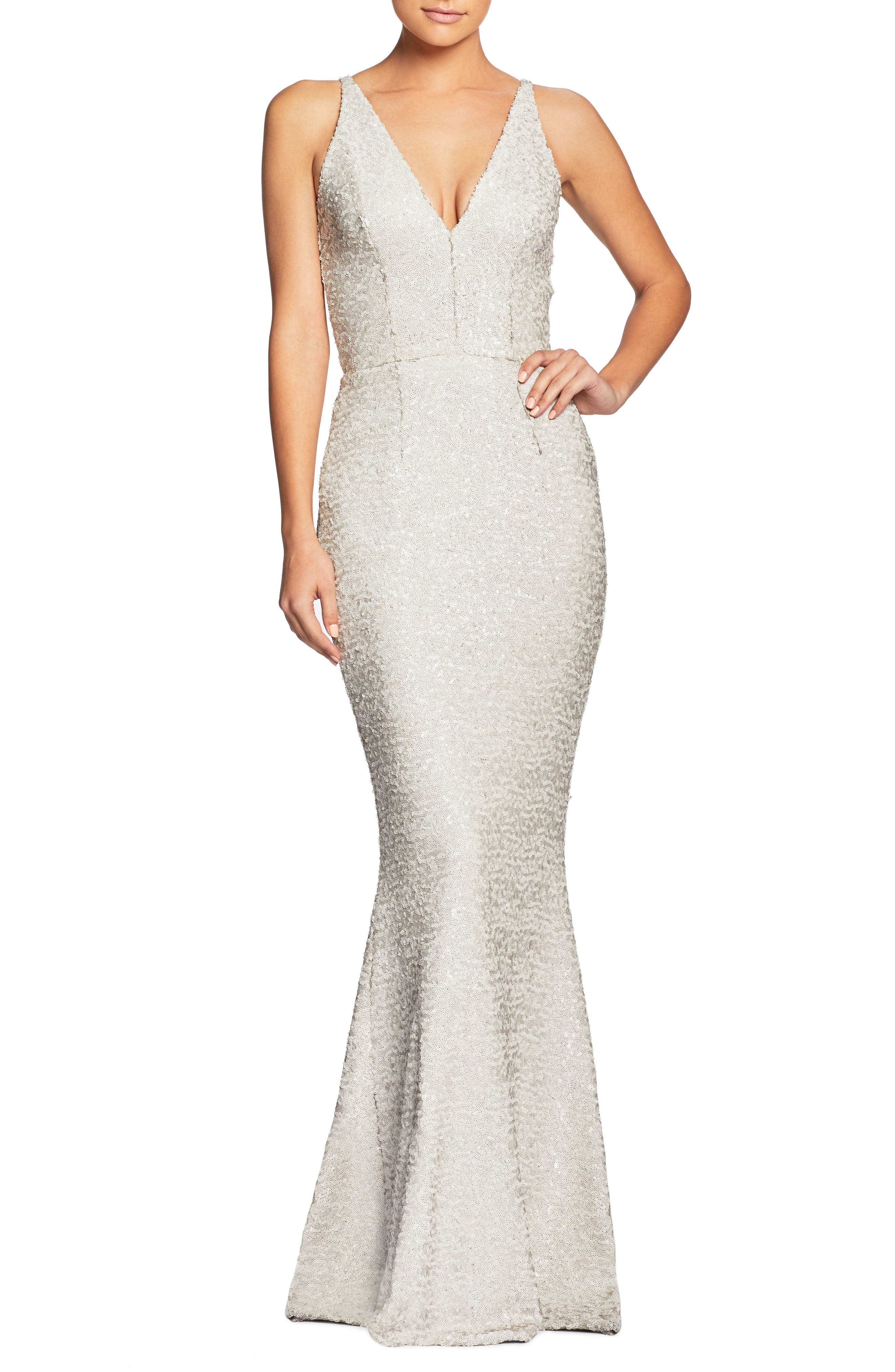 Dress The Population Harper Mermaid Gown, White