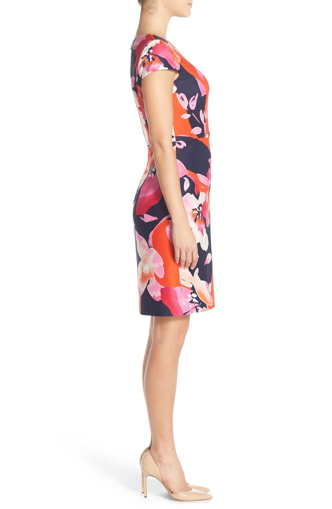 Floral Scuba Sheath Dress,                             Alternate thumbnail 2, color,                             650
