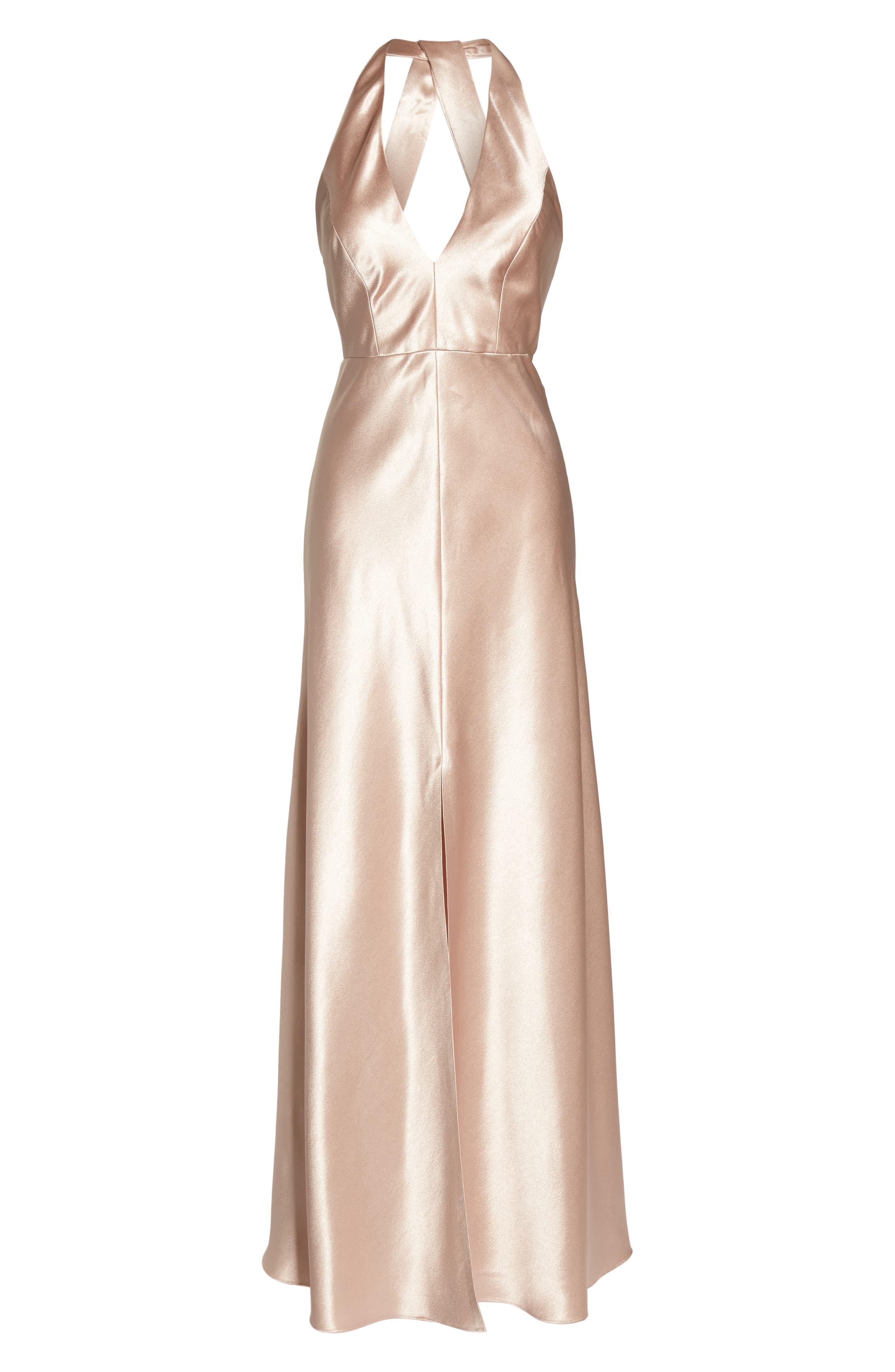 Corrine Satin Crepe Halter Gown,                             Alternate thumbnail 7, color,                             PETAL