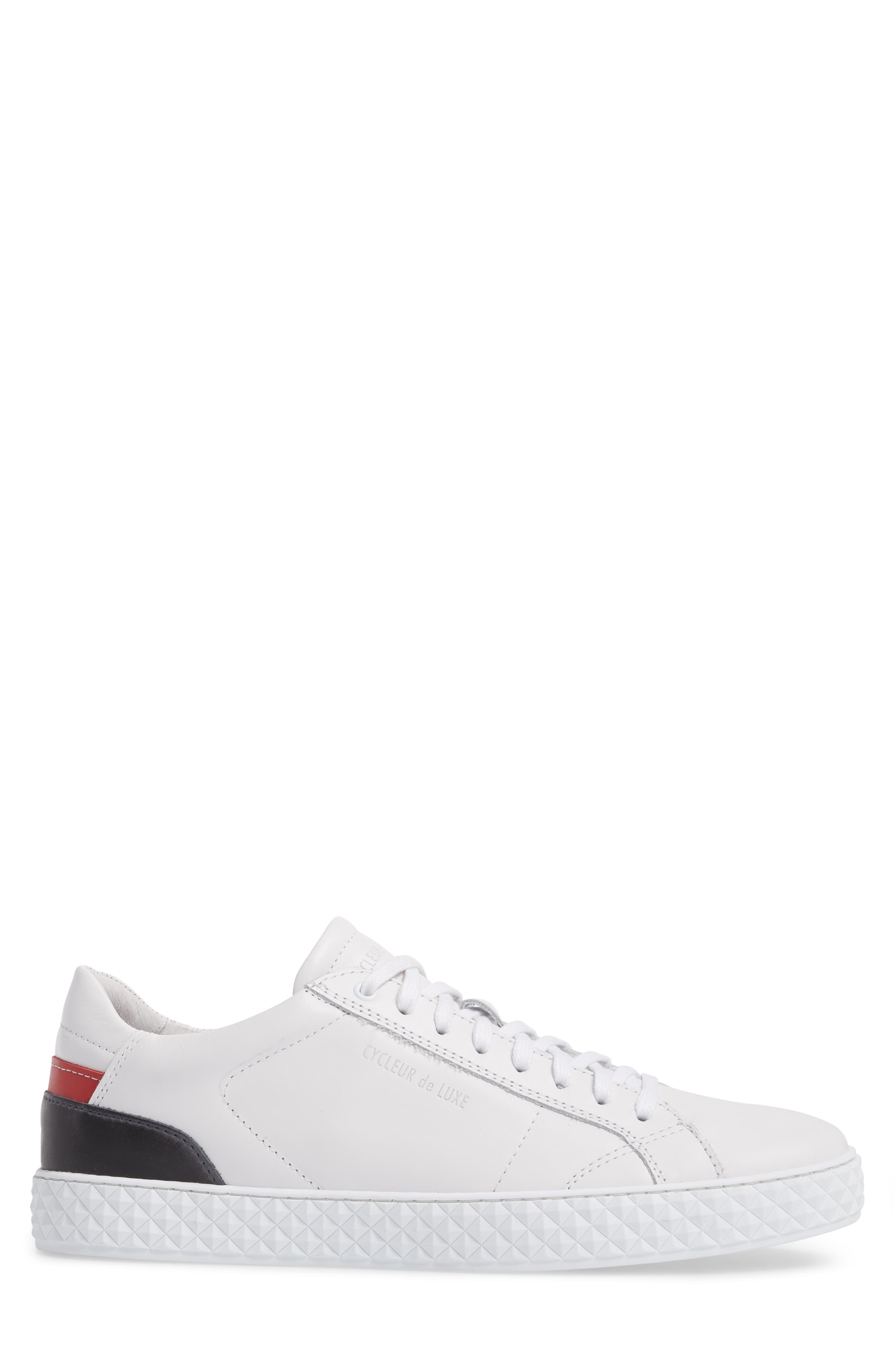 Bratislava Low Top Sneaker,                             Alternate thumbnail 3, color,                             OPTIC WHITE/ RED/ NAVY LEATHER