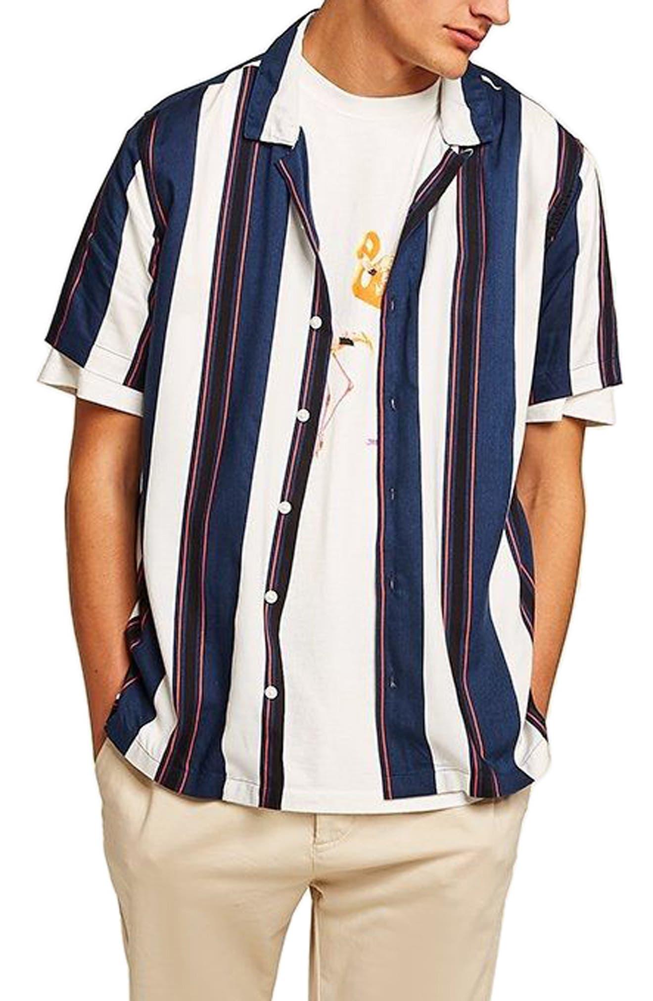 TOPMAN Stripe Camp Shirt, Main, color, 410