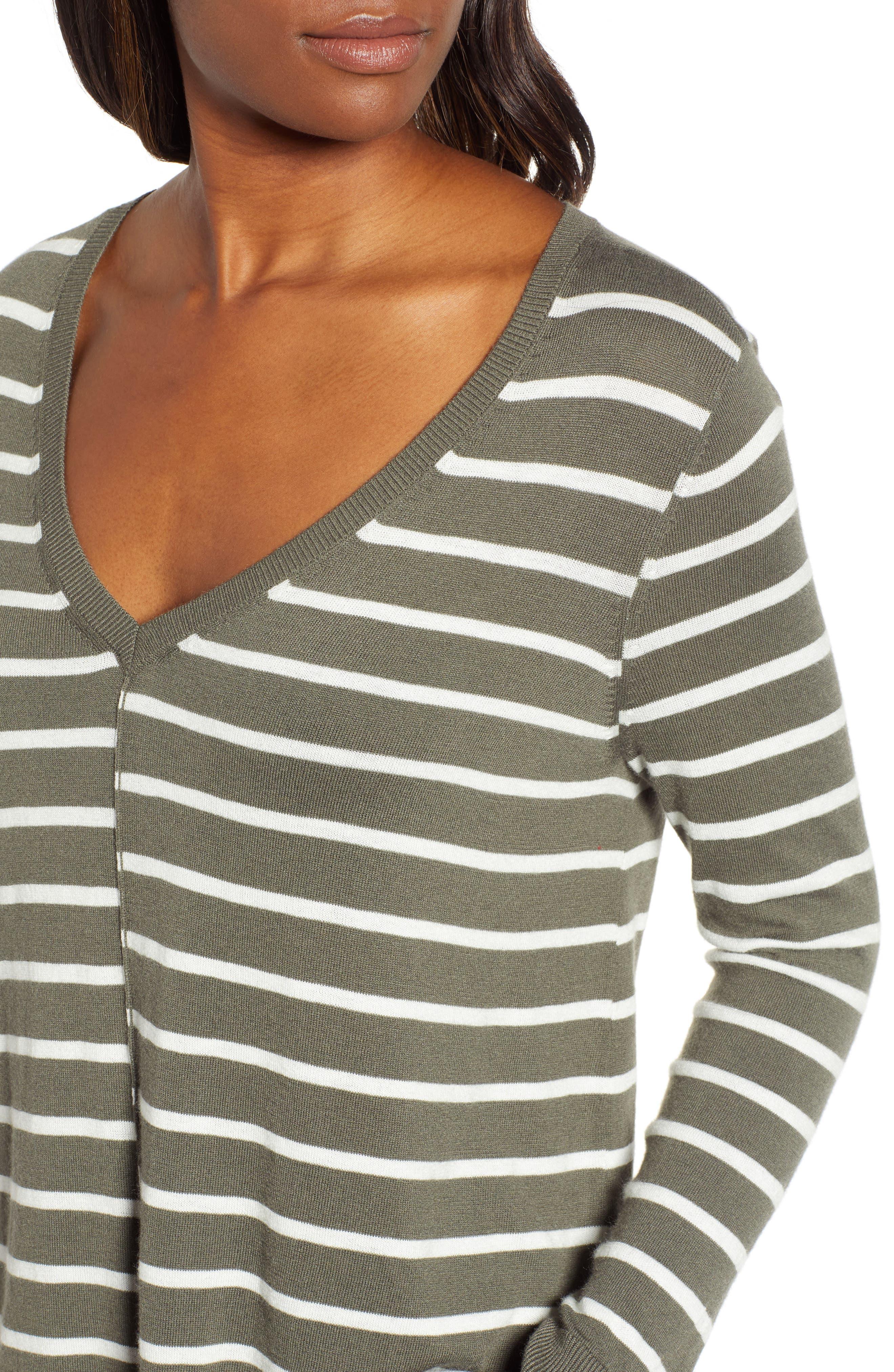 High-Low V-neck Sweater,                             Alternate thumbnail 4, color,                             GREEN- IVORY PRITHI STRIPE