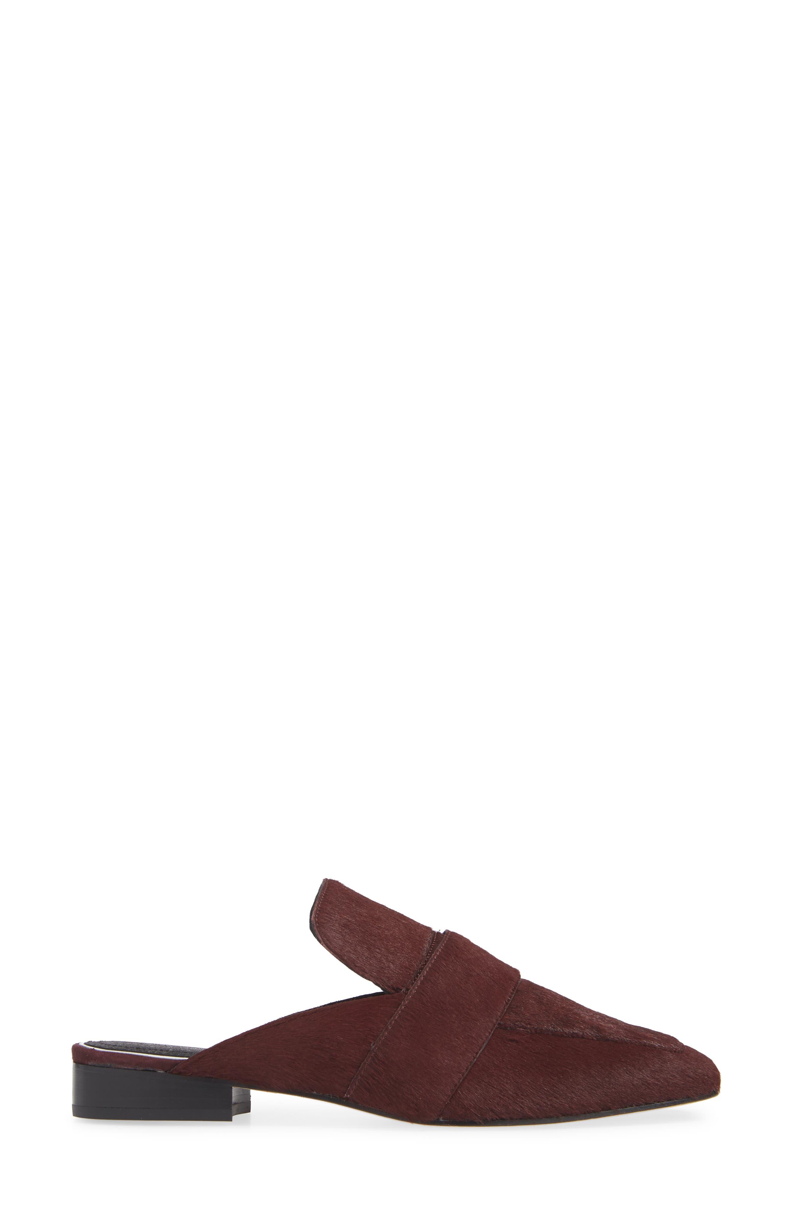 Aslen Genuine Calf Hair Loafer Mule,                             Alternate thumbnail 3, color,                             BURGUNDY CALF HAIR