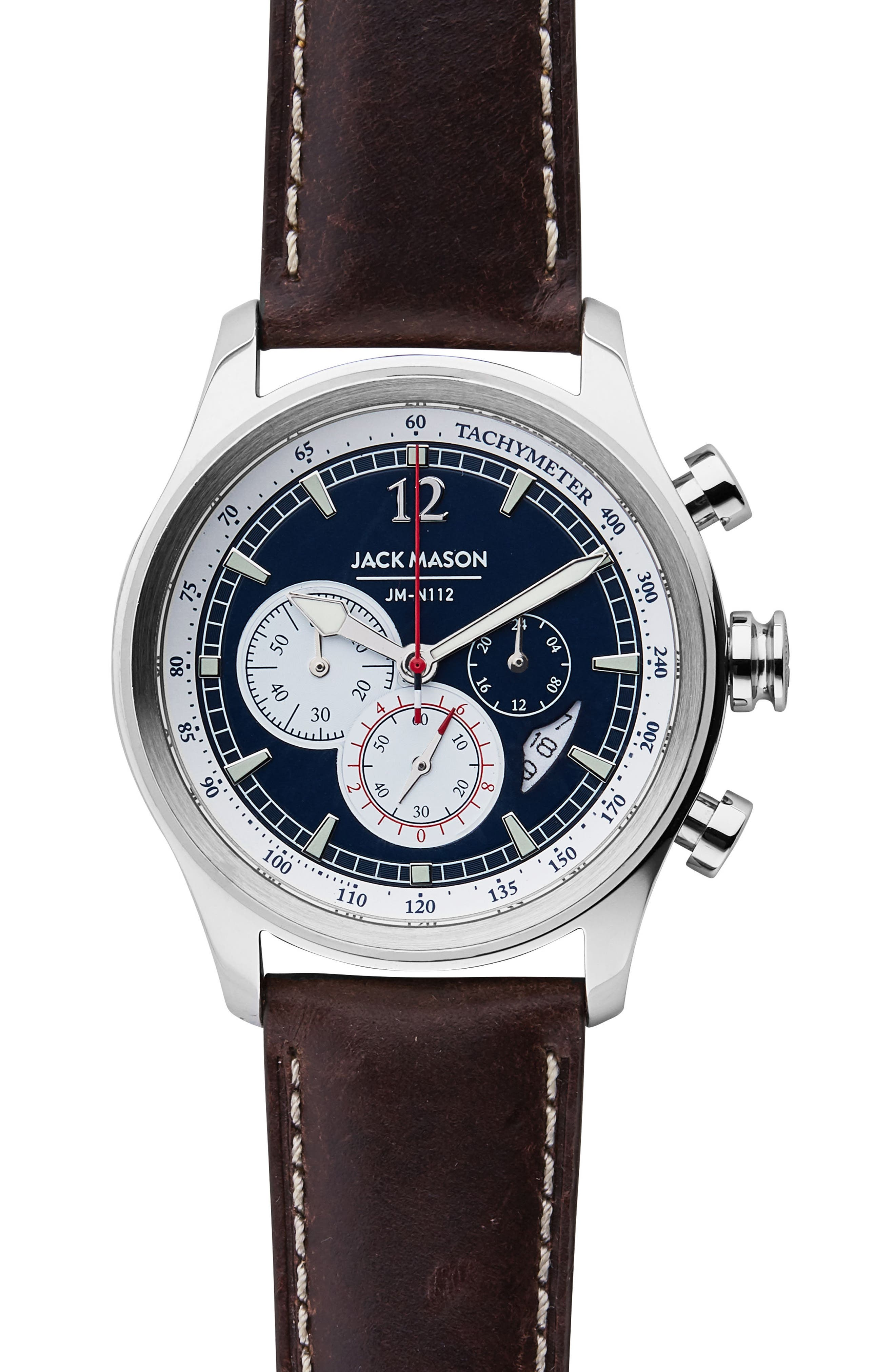 Nautical Chronograph Leather Strap Watch, 42mm,                             Main thumbnail 1, color,                             NAVY/ BROWN