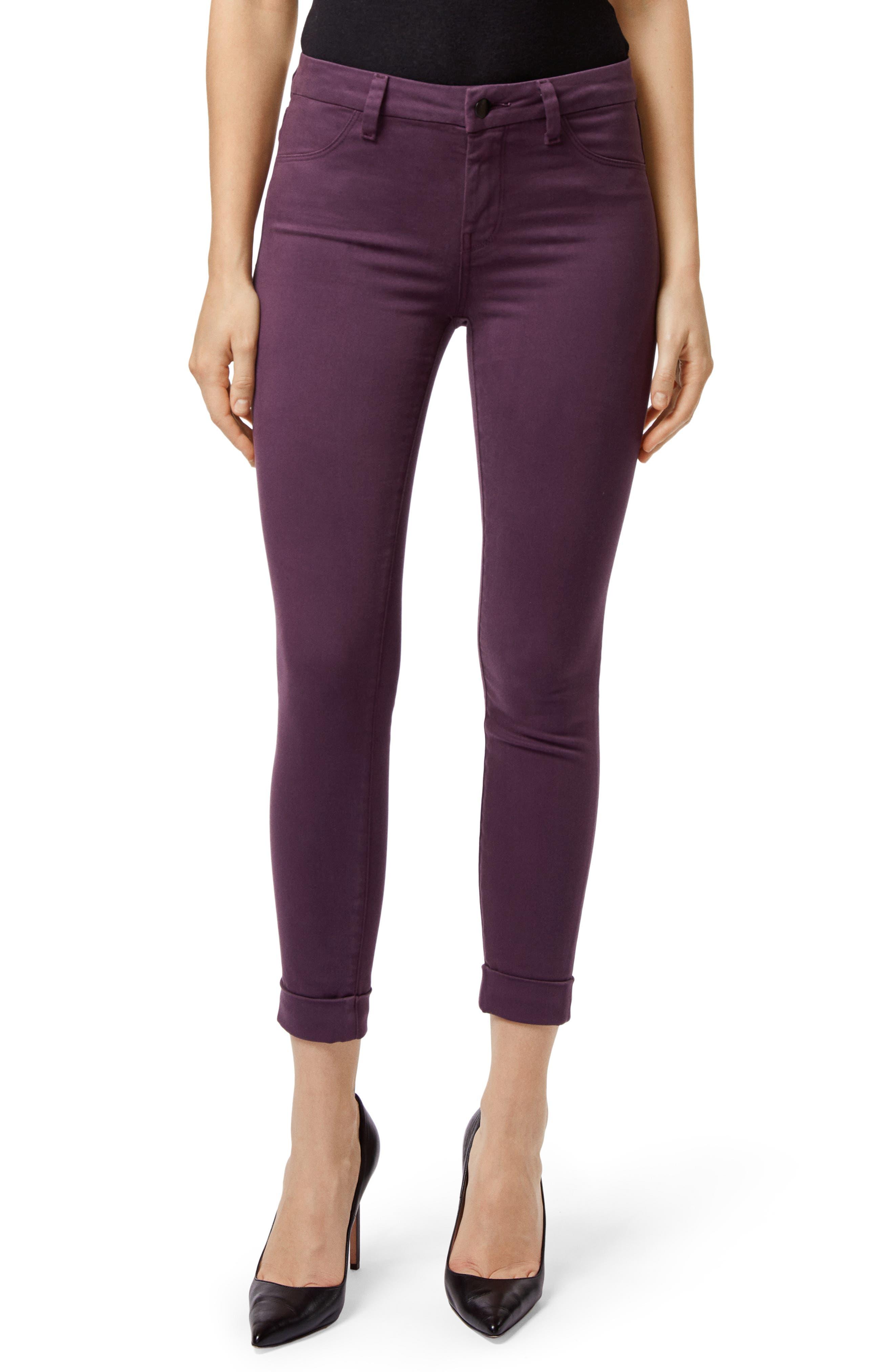 Anja Cuff Crop Jeans,                         Main,                         color, AUBERGINE