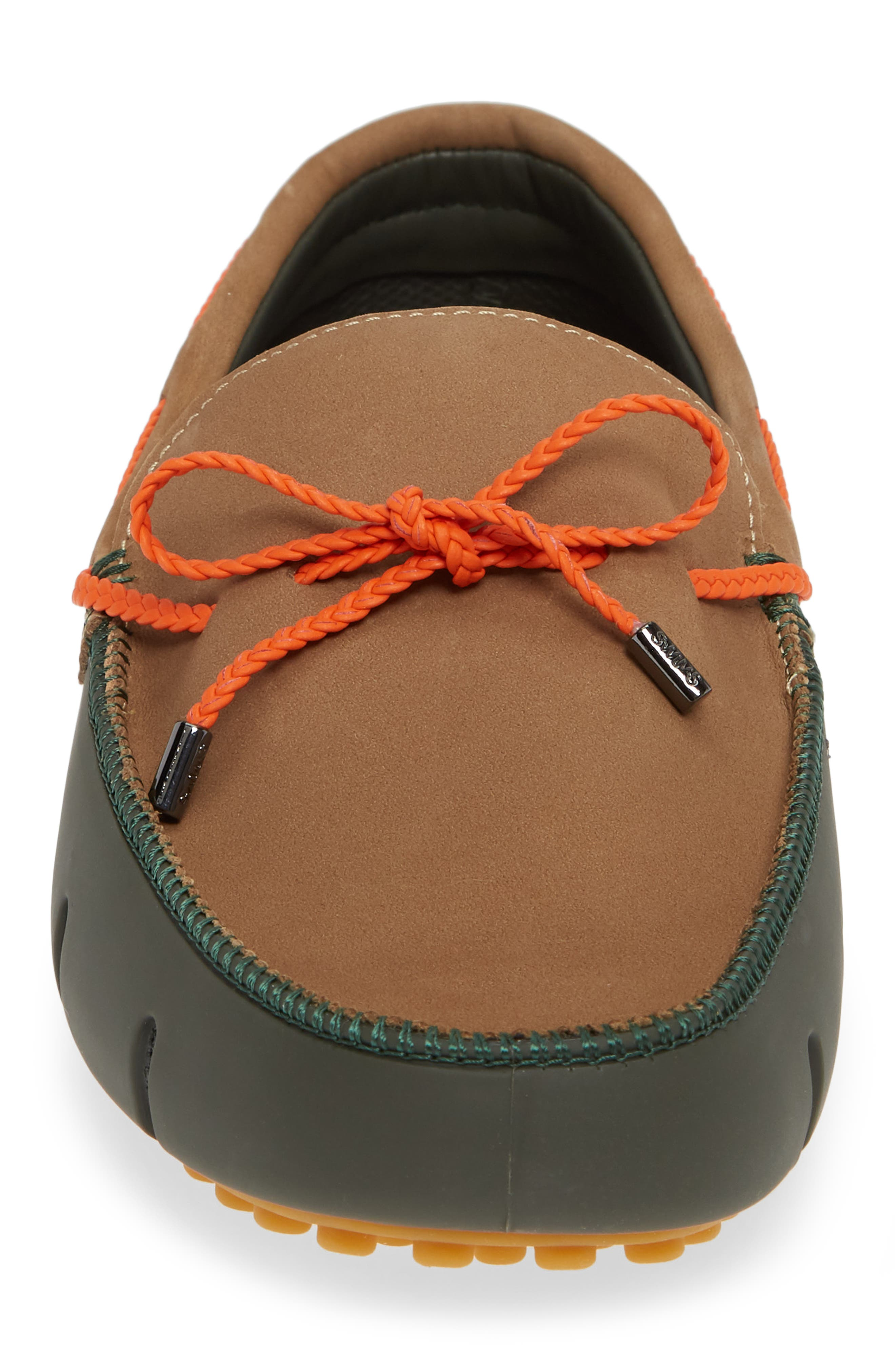 SWIMS,                             Lux Driving Loafer,                             Alternate thumbnail 4, color,                             OLIVE/ GAUCHO/ GUM
