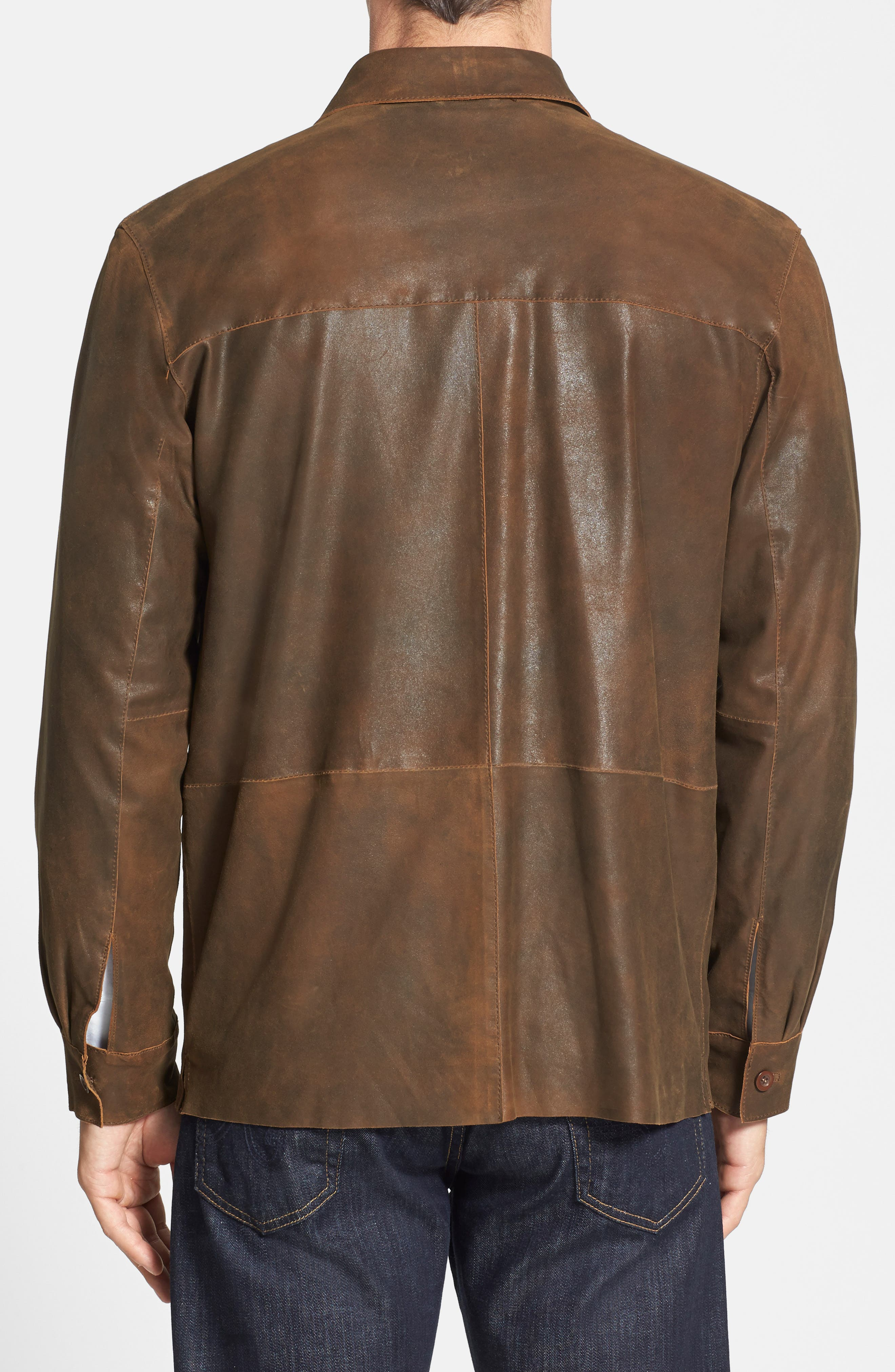 Classic Fit Military Shirt Leather Jacket,                             Alternate thumbnail 4, color,                             220