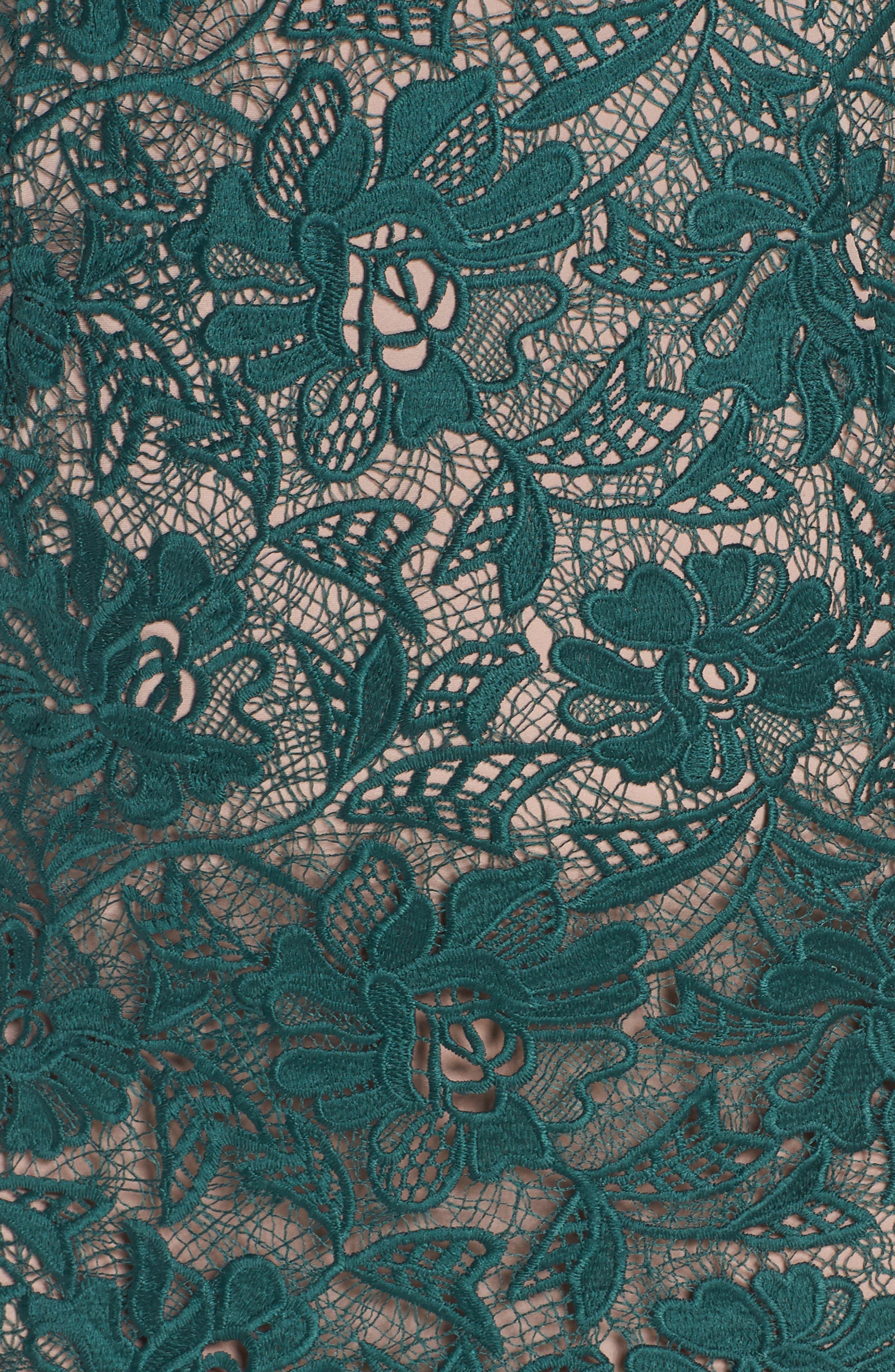 Lace Mock Neck Midi Dress,                             Alternate thumbnail 6, color,                             301